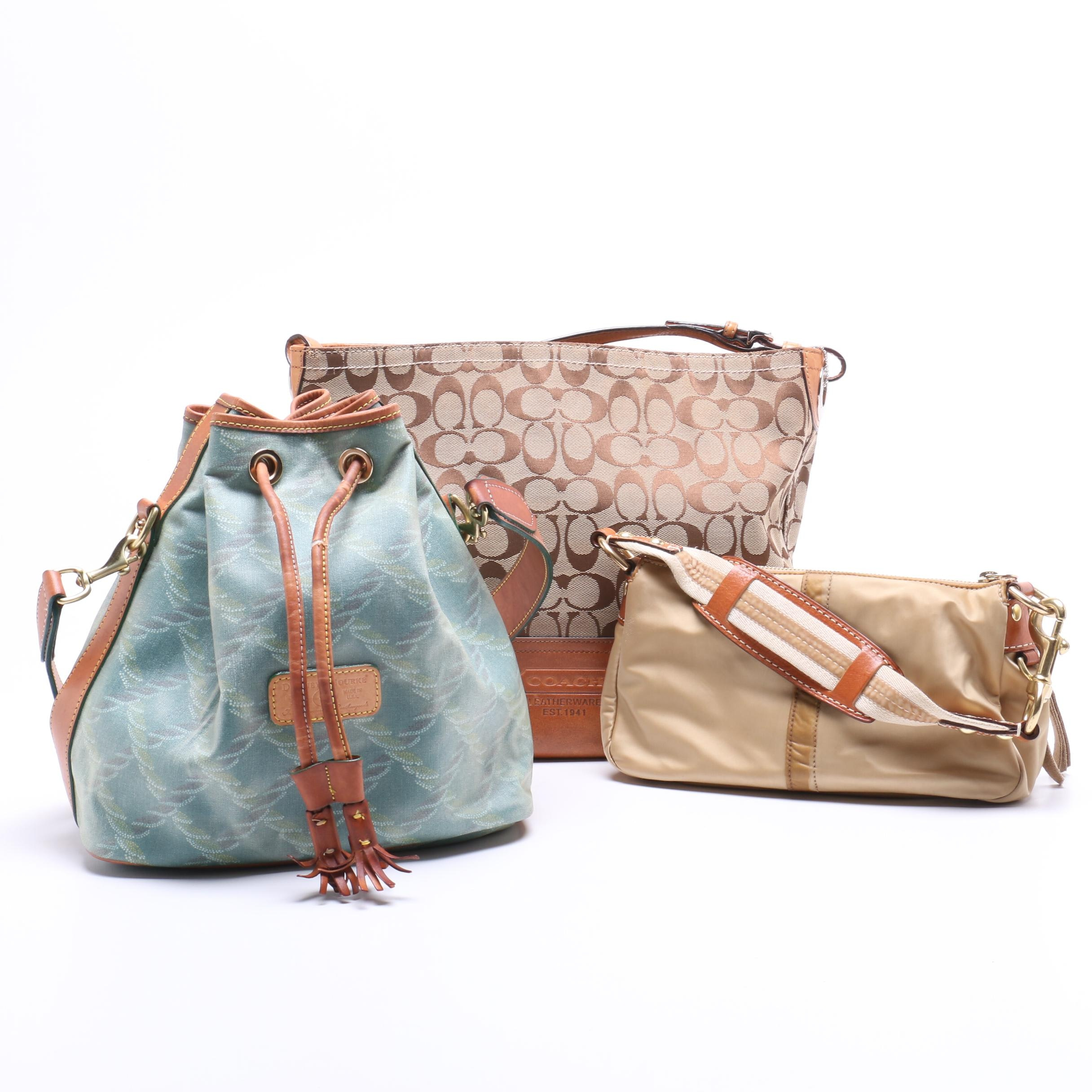 Coach Signature Shoulder Tote, Satin Demi Bag and Dooney & Bourke Bucket Bag