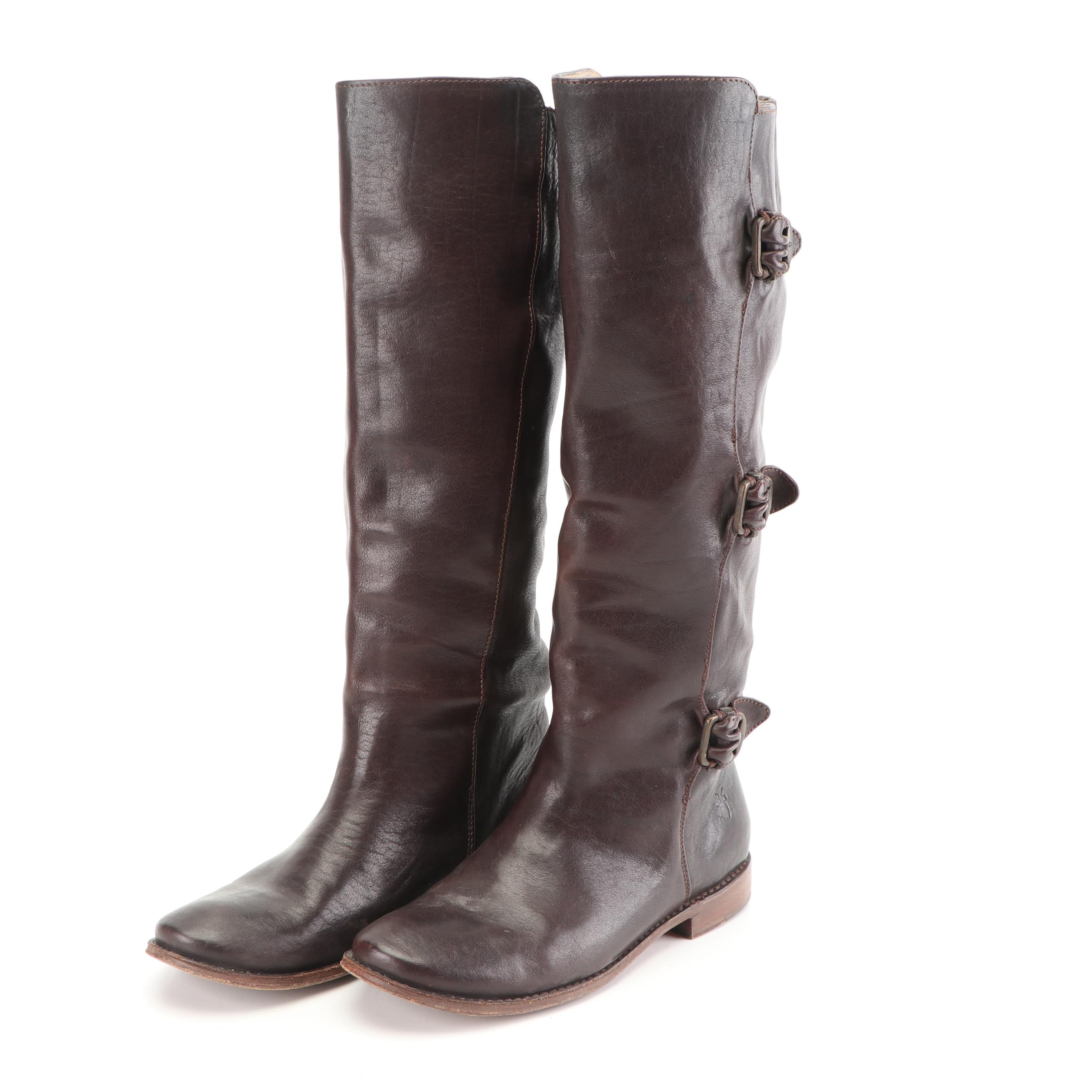 Women's Frye Three Buckle Brown Leather Paige Riding Boots