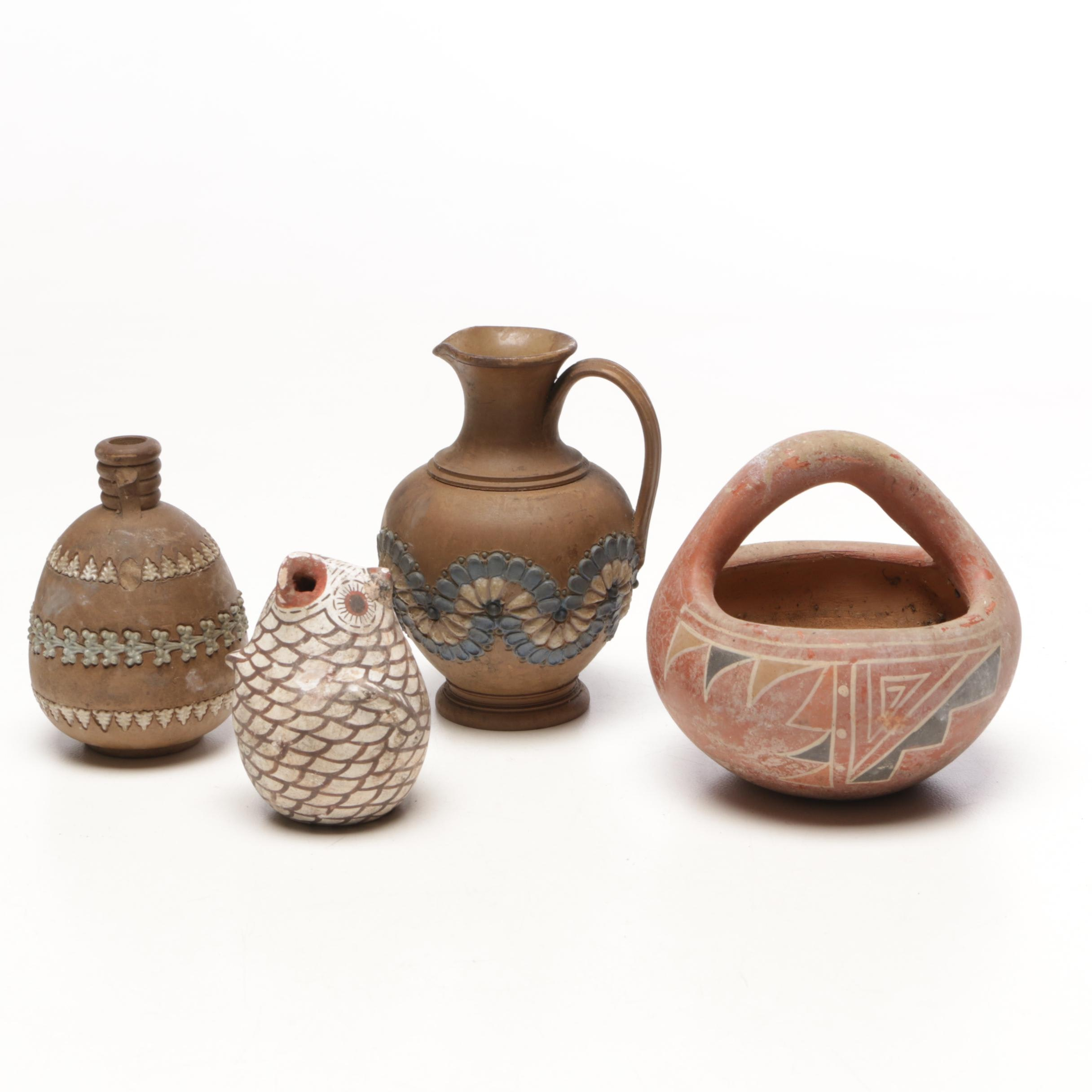 Doulton Lambeth with Zuni Style Earthenware Vases and Decor