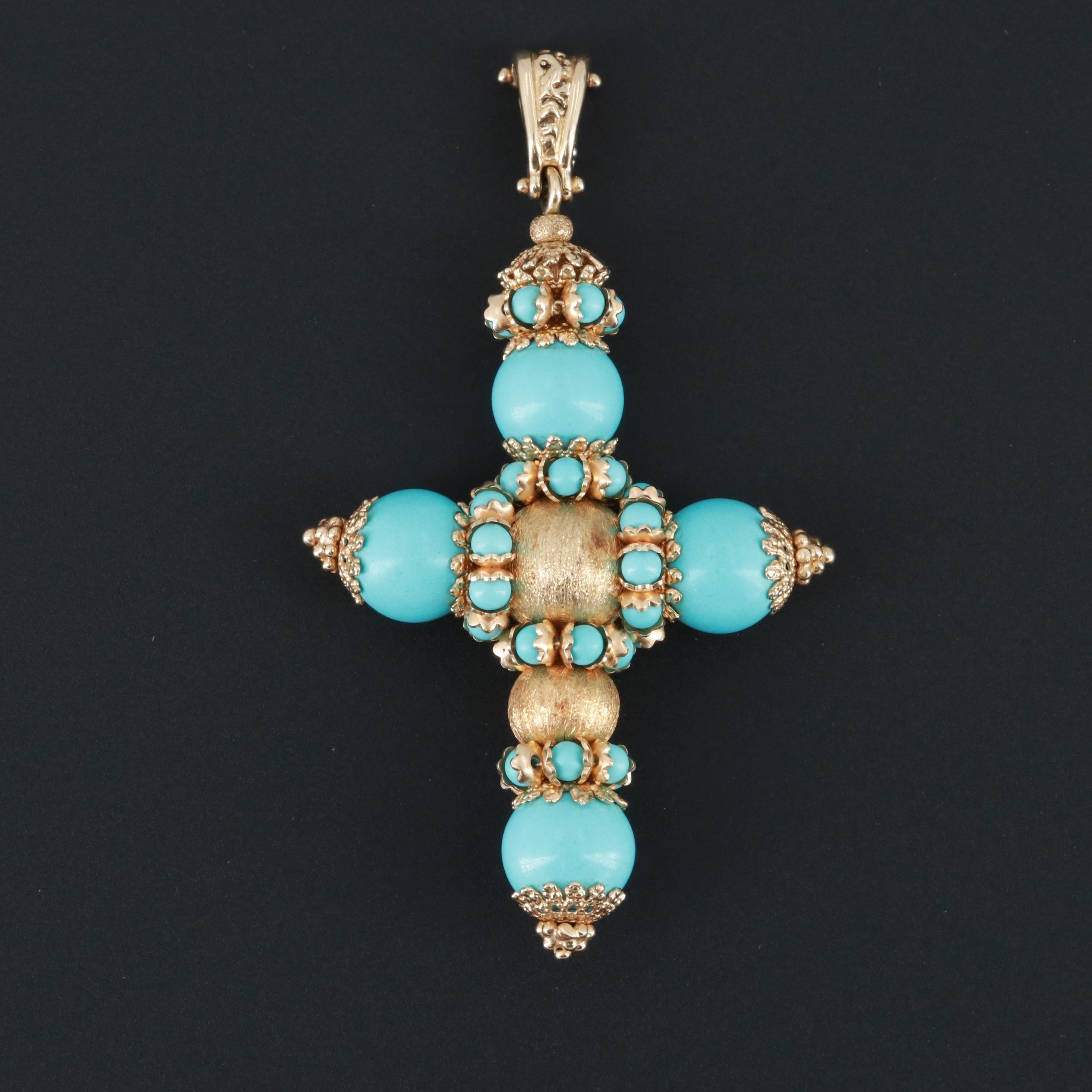 14K Yellow Gold Imitation Turquoise Cross Enhancer Pendant