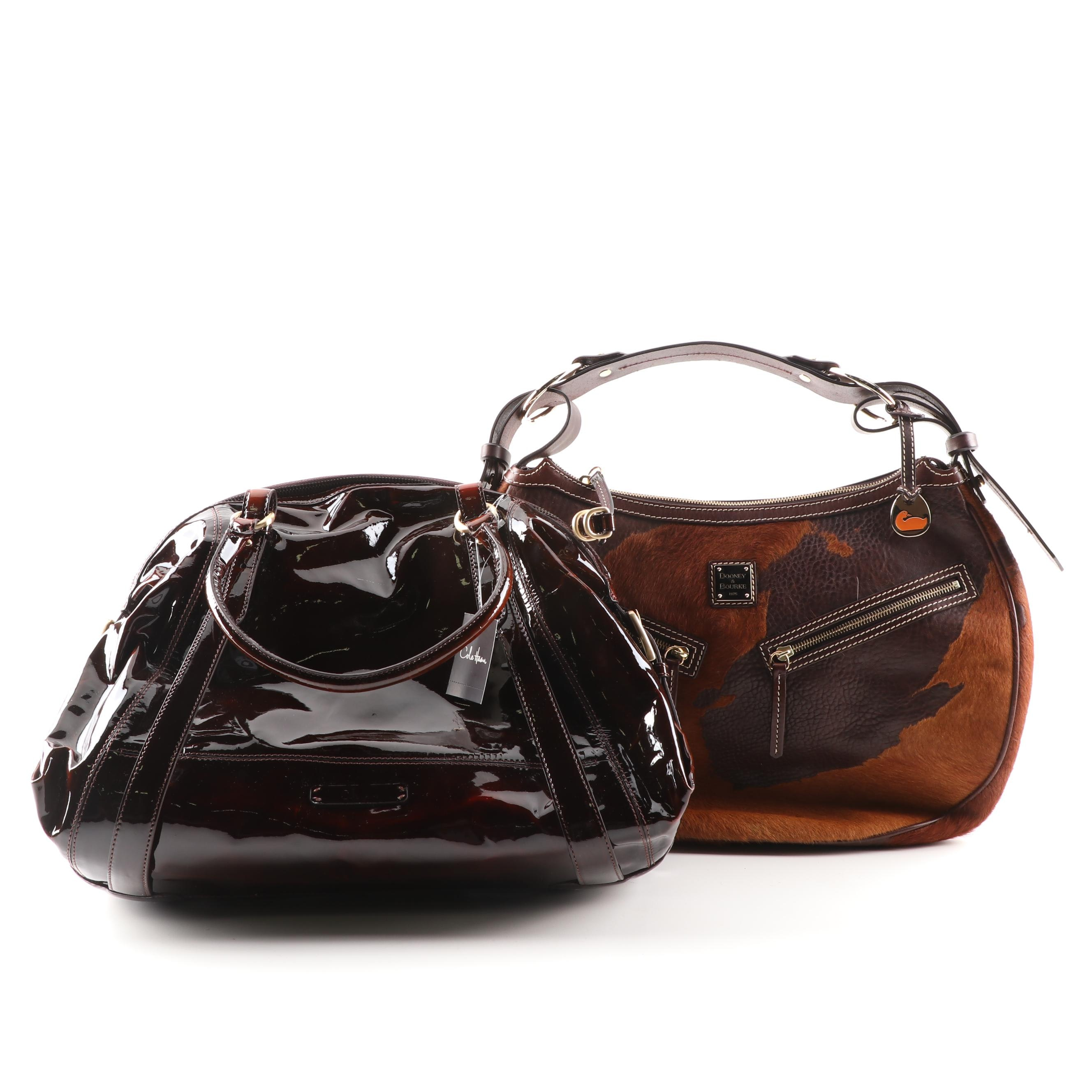 Dooney & Bourke Cowhide Leather and Cole Haan Patent Leather Handbags