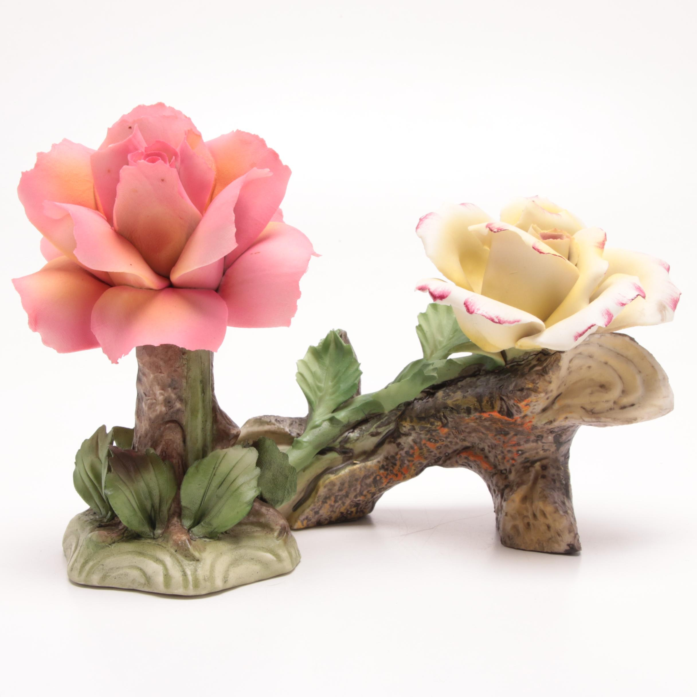 Pair of Capodimonte Porcelain Floral Figurines