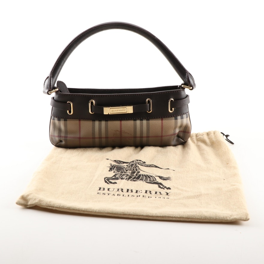 """1100a747315950 Burberry Ombré """"Haymarket Check"""" Coated Canvas and Black Leather Baguette"""