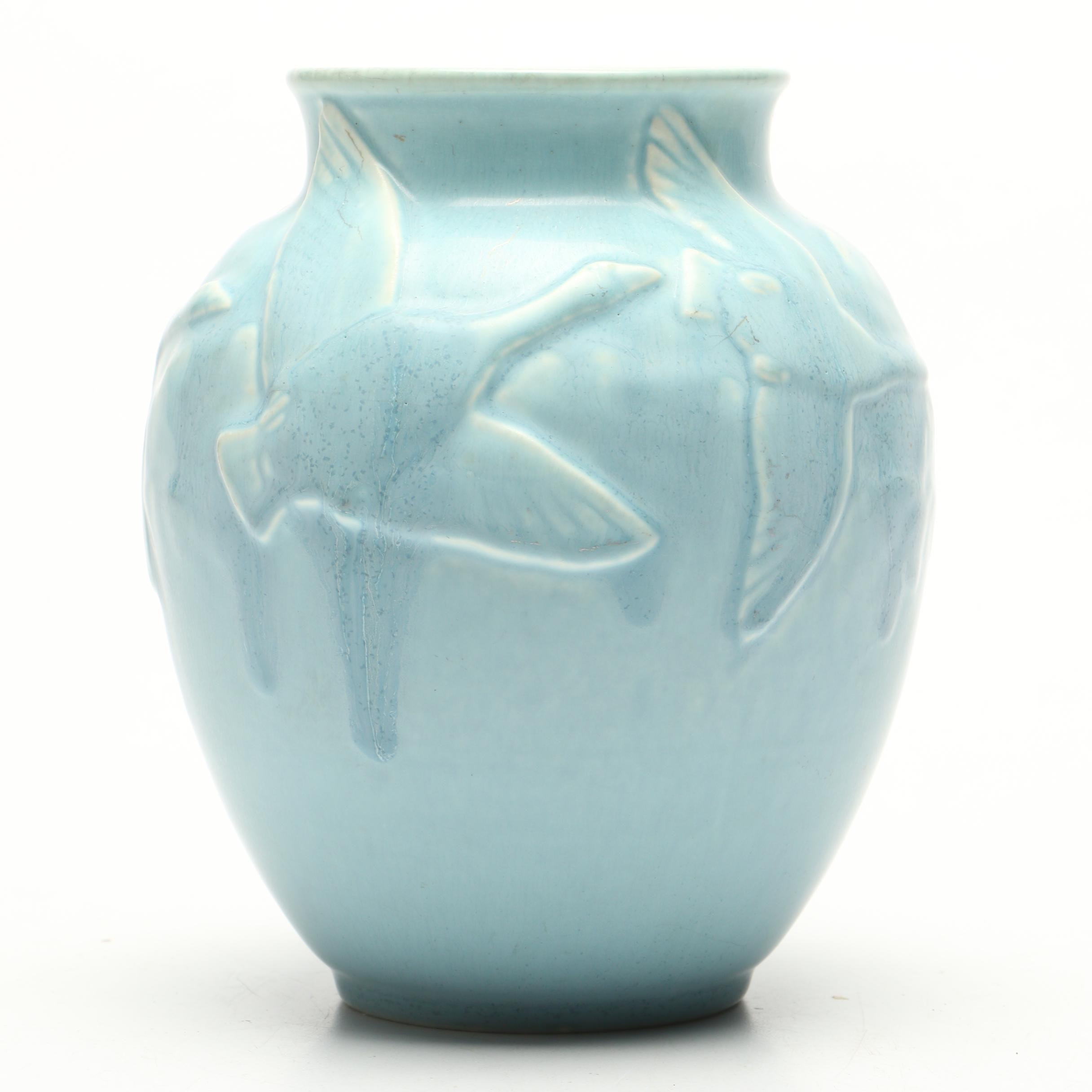 Rookwood Pottery Vase with Flying Geese Pattern, 1943