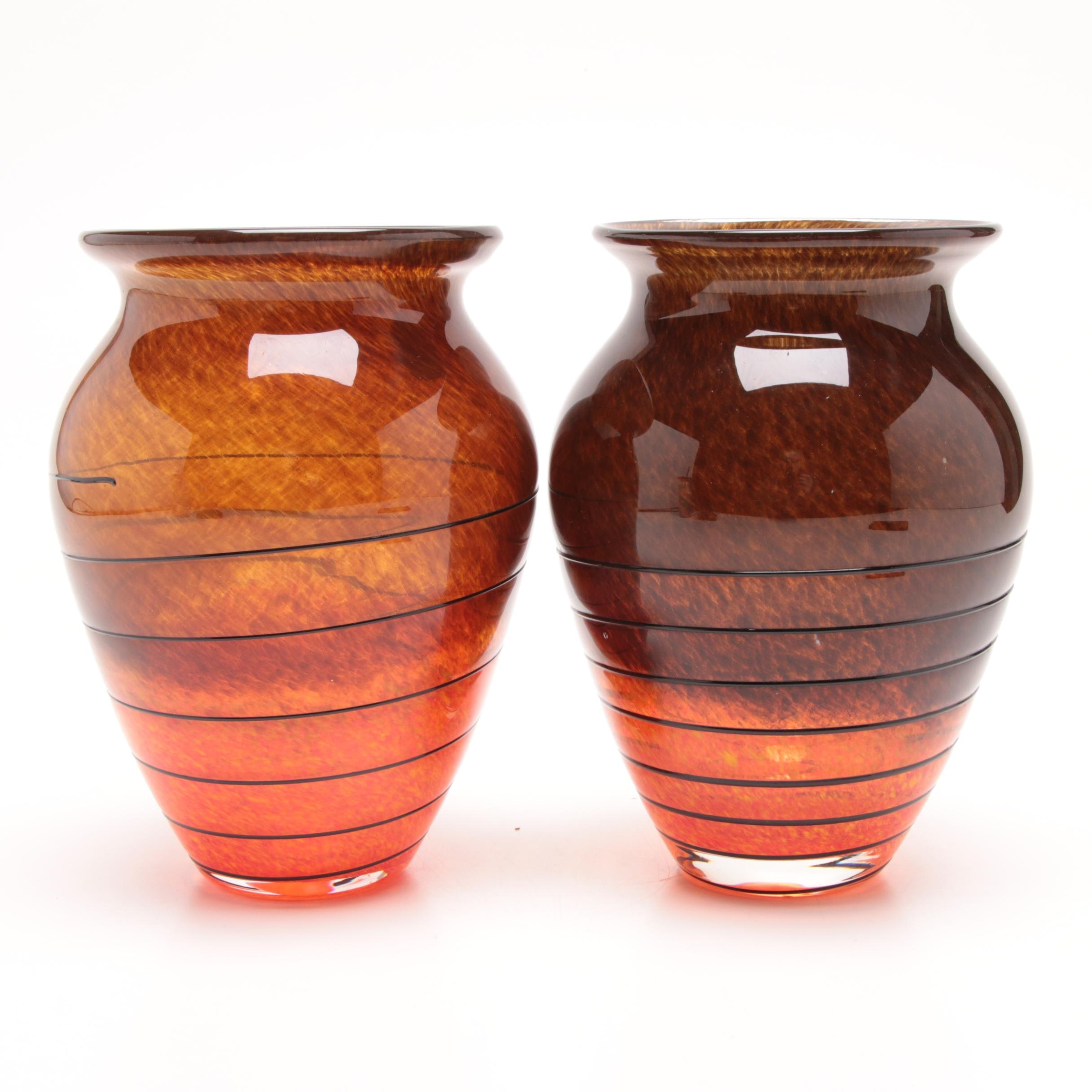 Pair of Murano Art Glass Vases