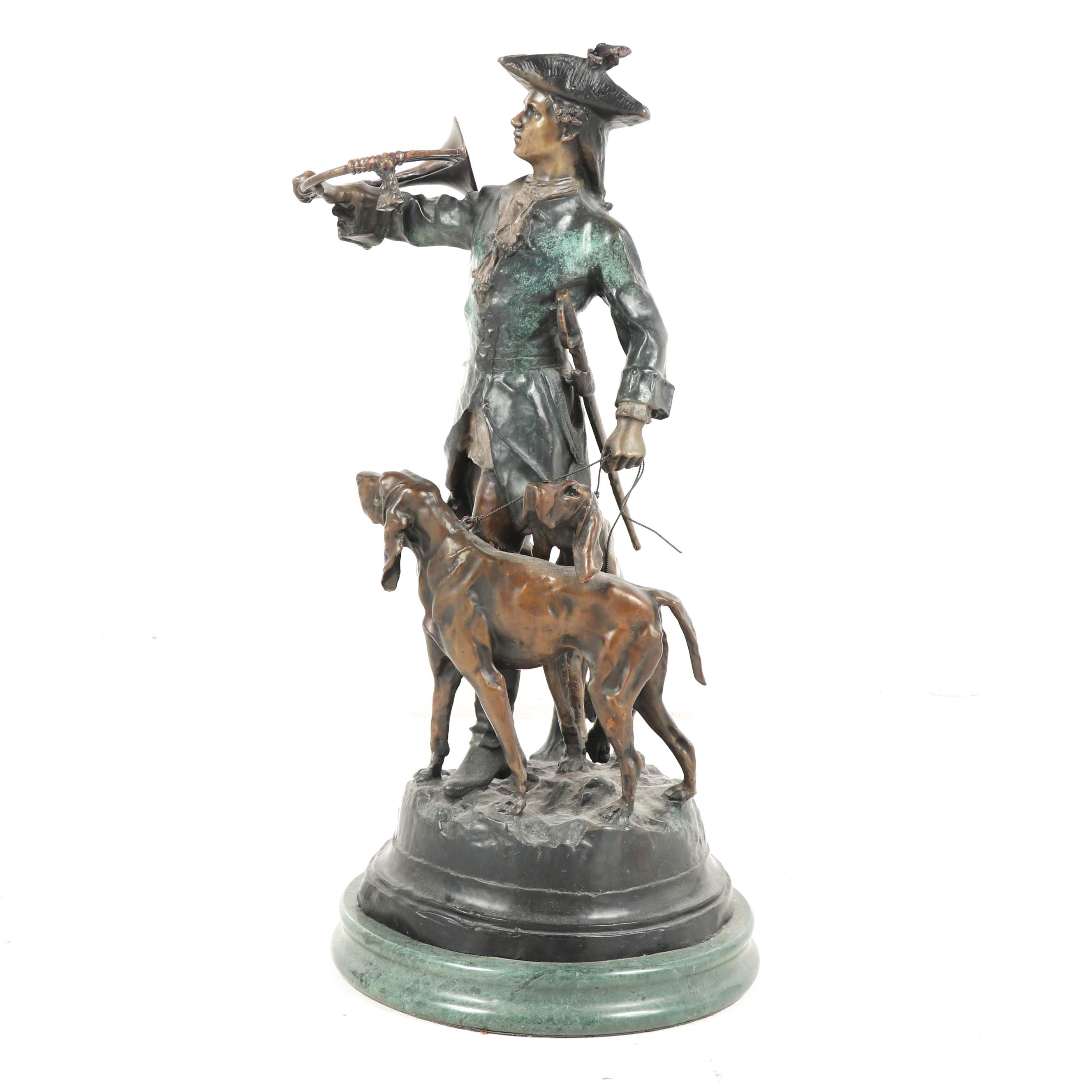 """Bronze Sculpture after Auguste Moreau """"Hunter with Horns and Hounds"""""""