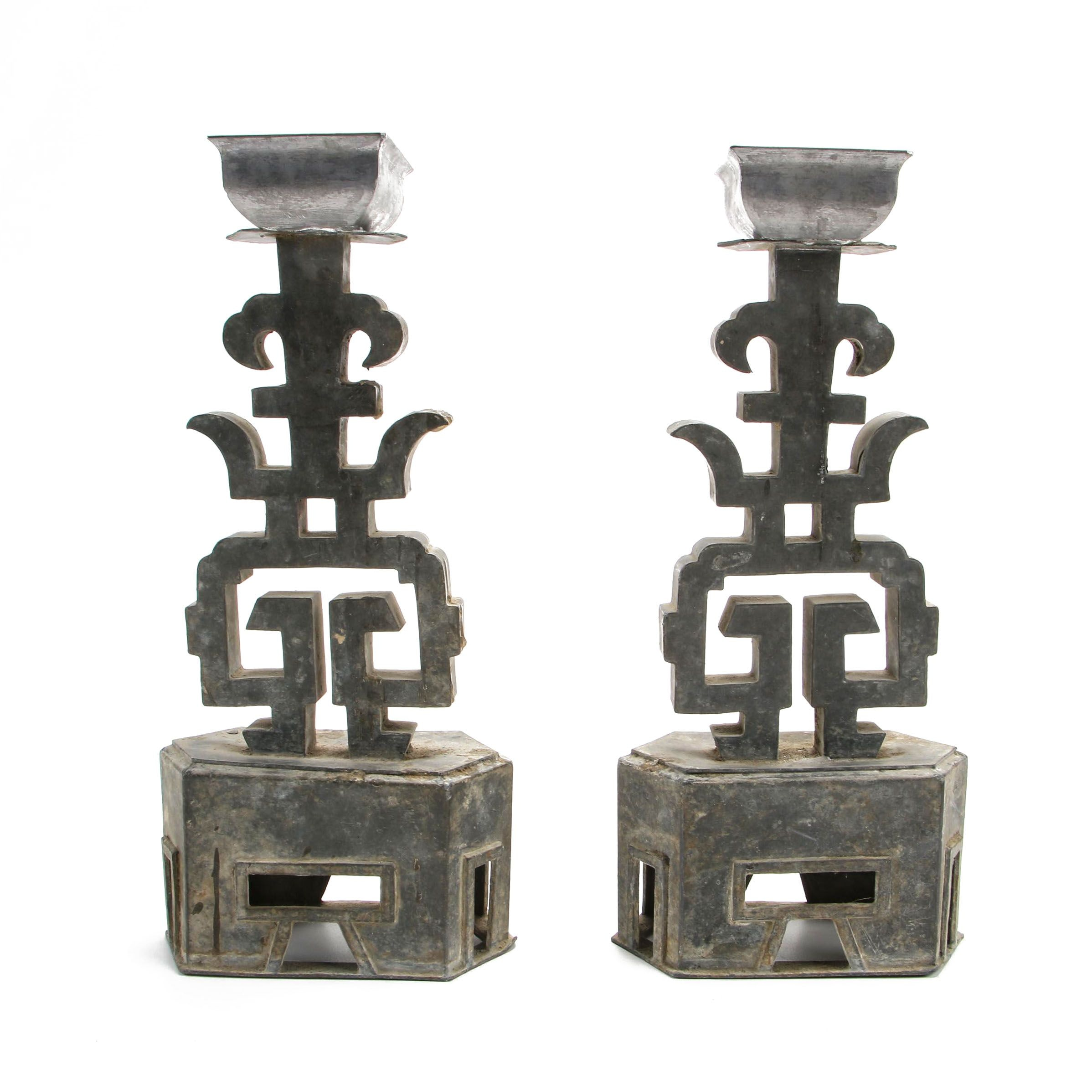"Chinese Pewter ""Longevity"" Candlesticks, Mid-Qing Dynasty"