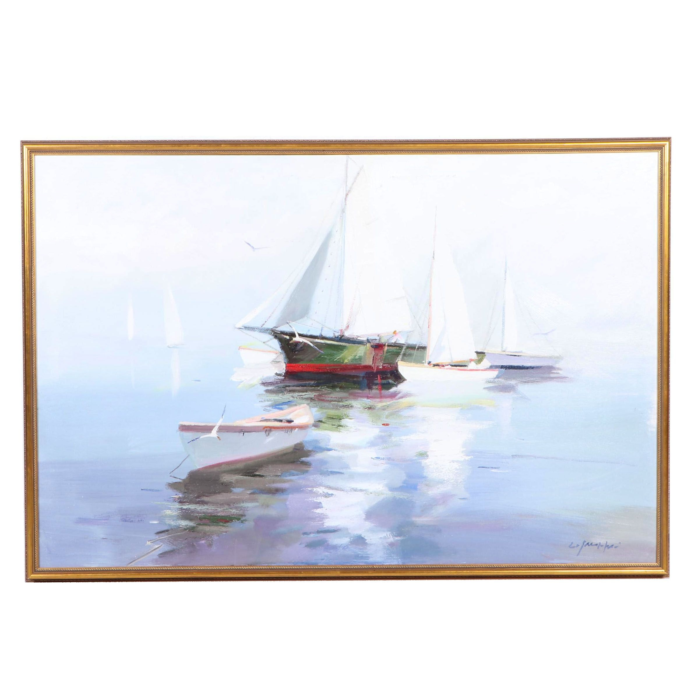 """Charles Gruppe Oil Painting """"Boats in Fog"""""""