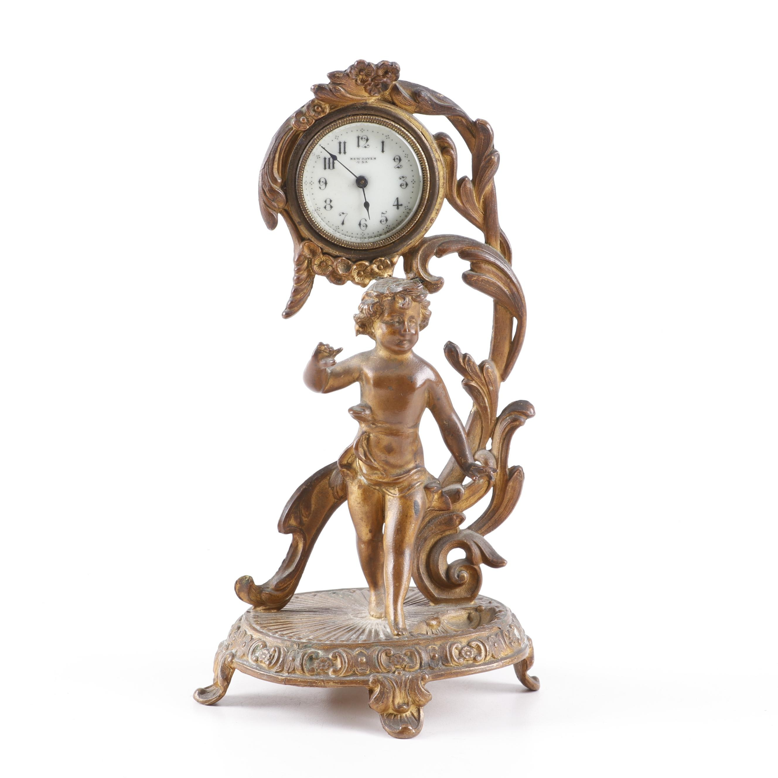 New Haven Cast Gilt Metal Figural Putti Clock, Late 19th Century