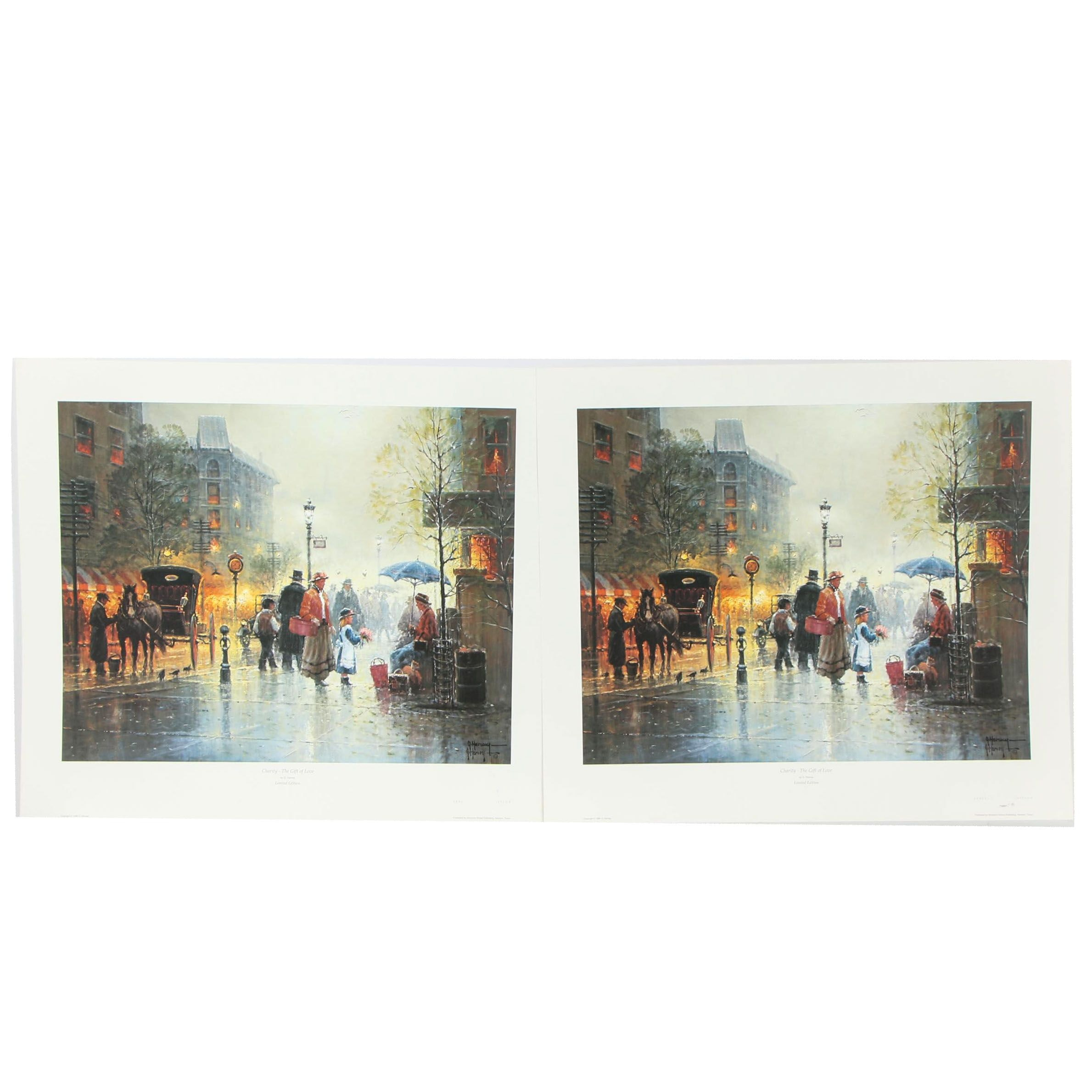 """G. Harvey Offset Lithographs """"Charity - The Gift of Love"""""""