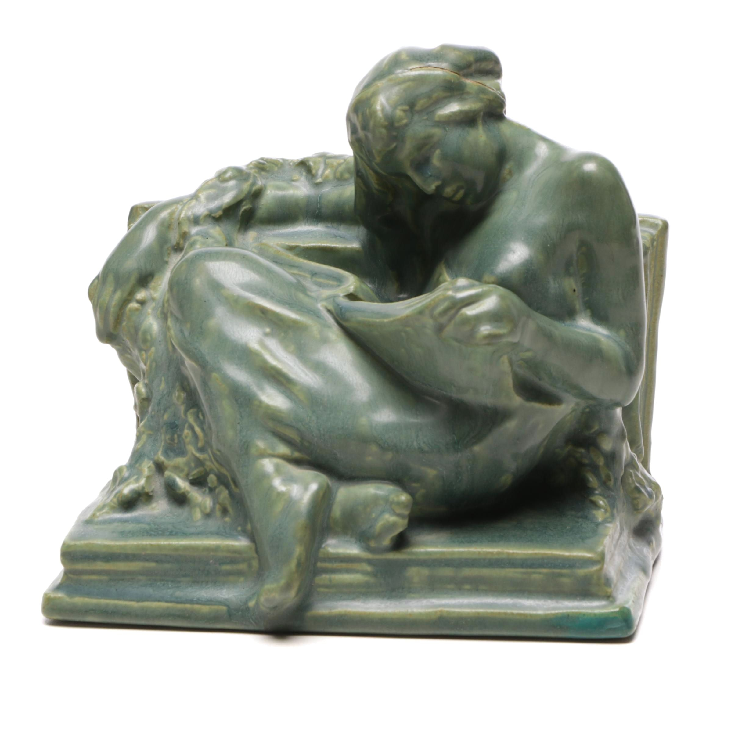 Rookwood Pottery Reclining Nude Bookend, 1915
