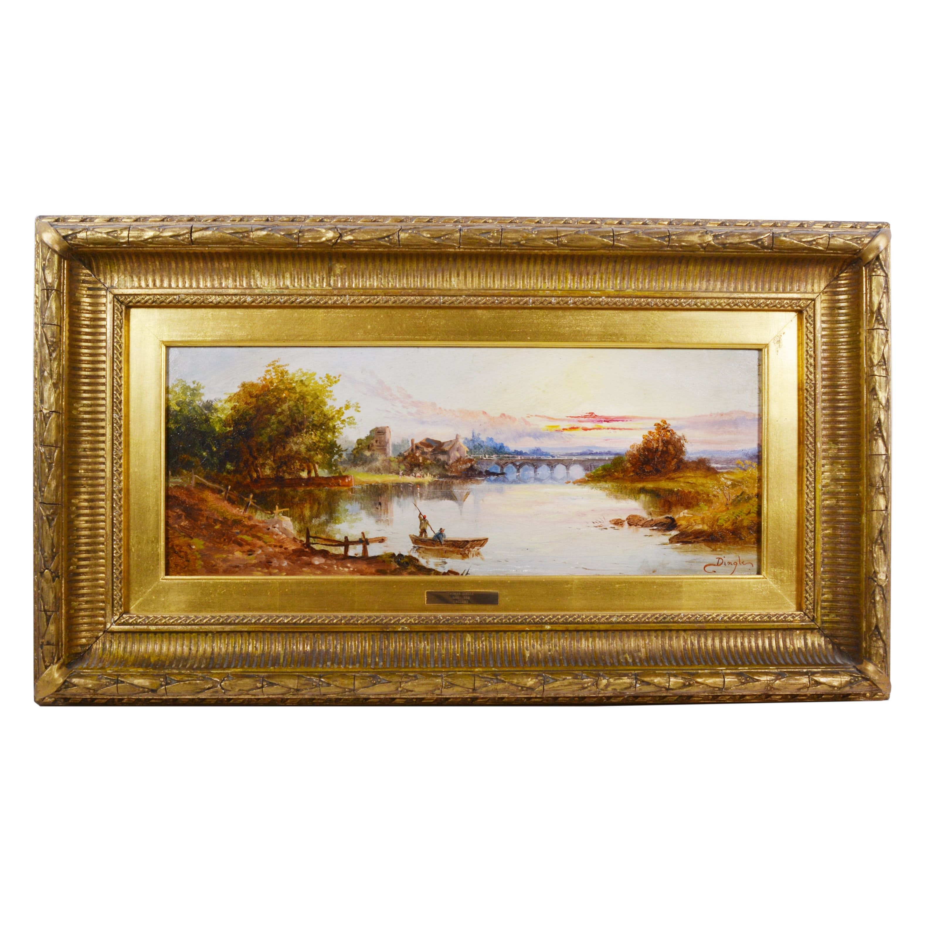 Thomas Dingle Oil Painting of Lake at Sunset Landscape, 19th Century