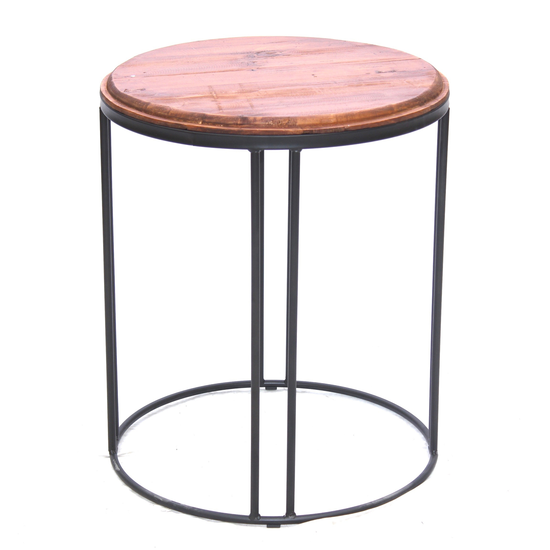 Wooden and Metal Side Table, Contemporary