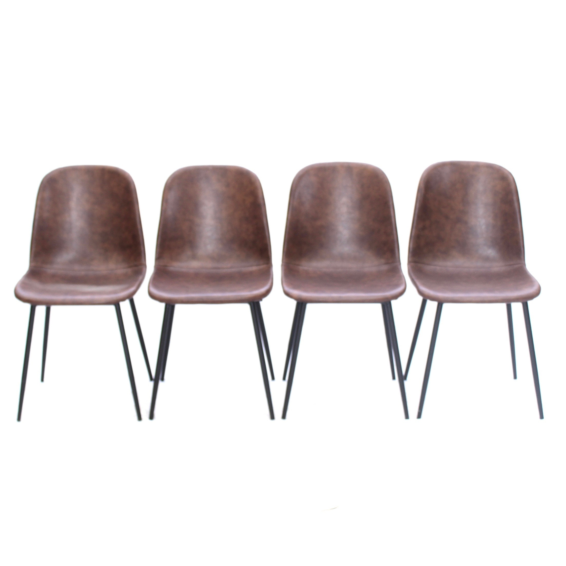 Four Brown Leatherette Dining Chairs, Contemporary