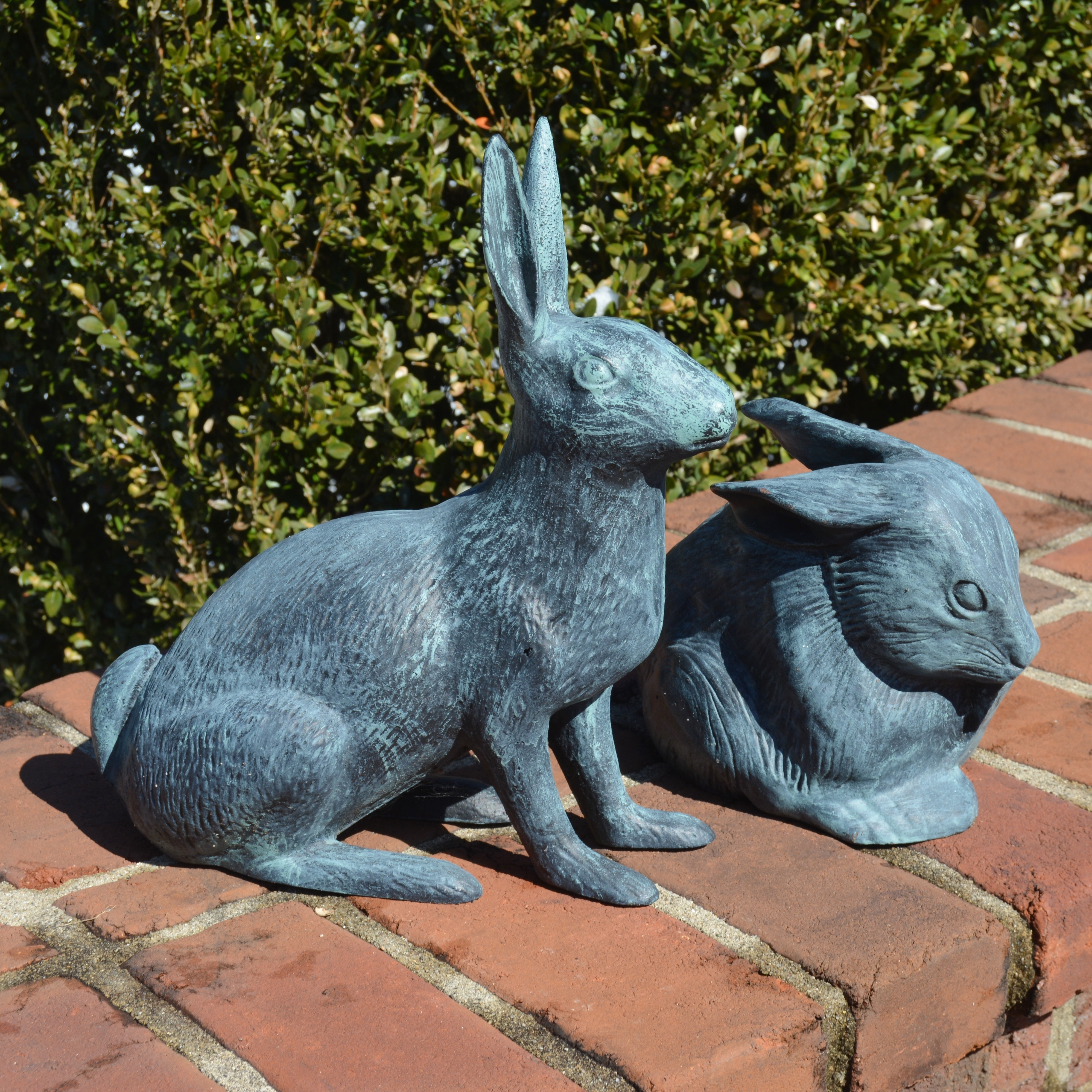 Outdoor Iron Hare and Ceramic Rabbit Figures