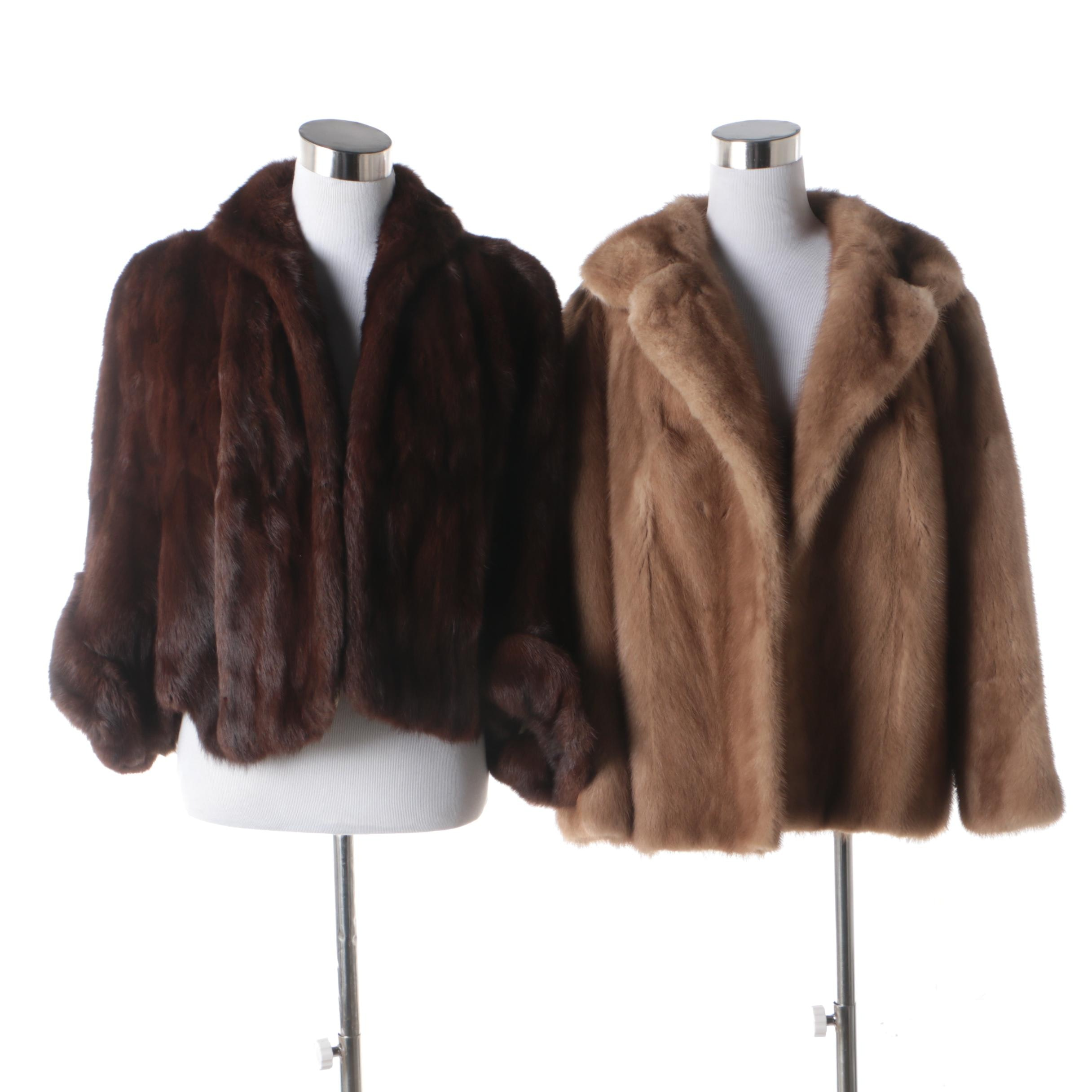 Women's Dyed Mahogany Squirrel Fur Cape and Blonde Mink Fur Jacket