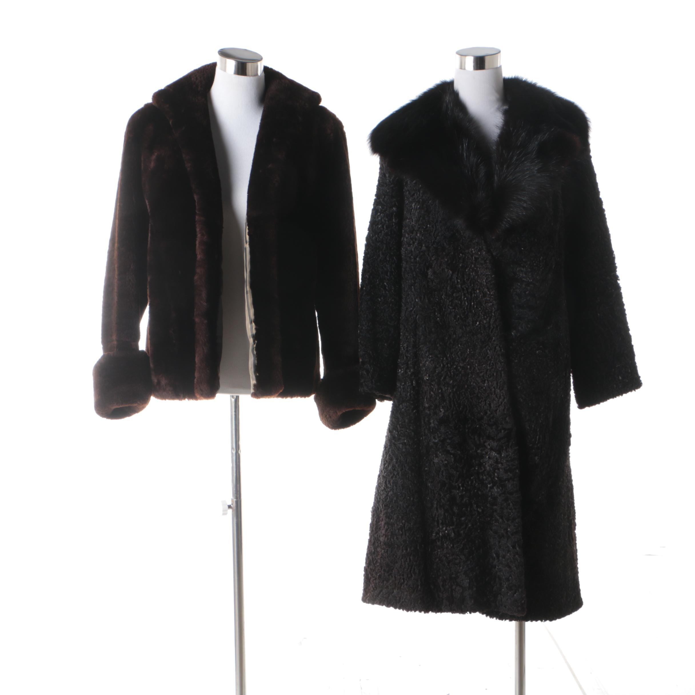 Brown Mouton Fur Jacket and Black Faux Persian Lamb Fur Coat with Fox Fur Collar