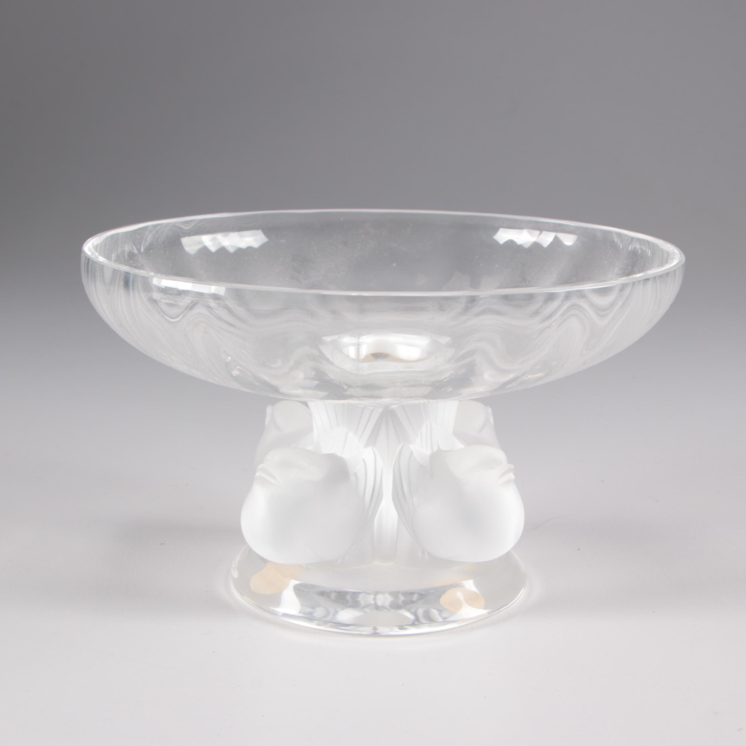 "Lalique Crystal ""Nogent"" Footed Bowl, Mid-Century"