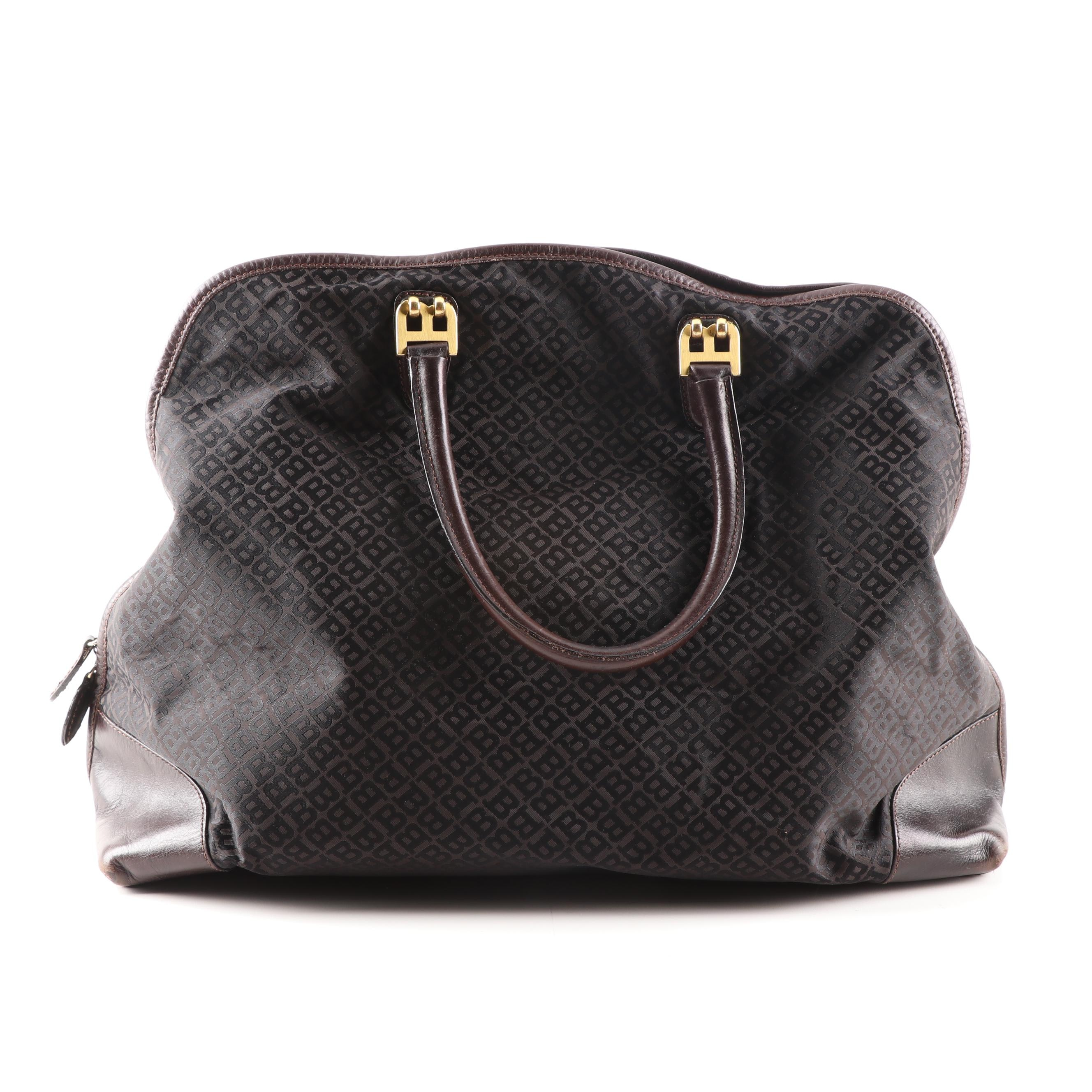Bally Brown Jacquard Canvas and Leather Tote