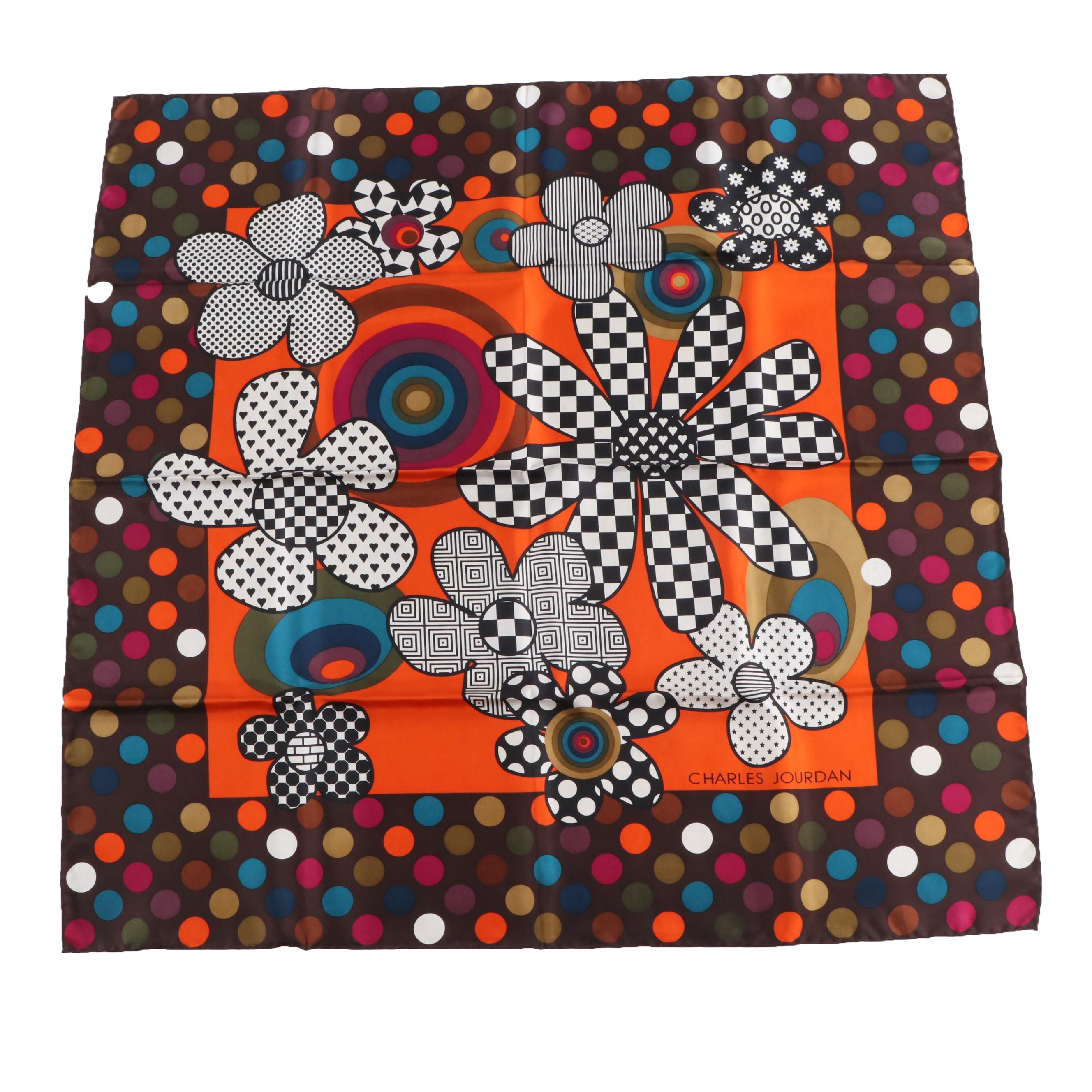 Charles Jourdan Paris Multicolor Silk Scarf, Made in Italy