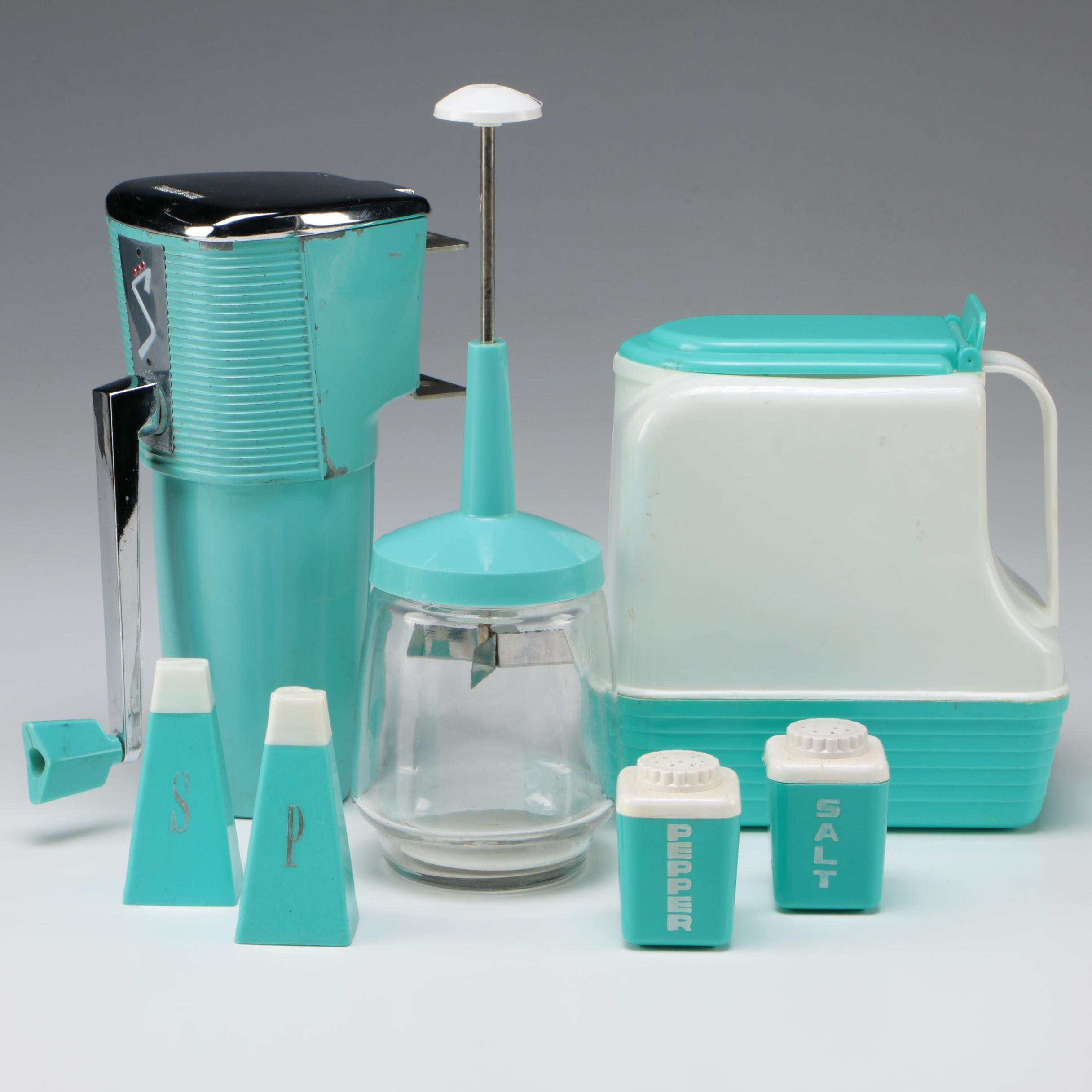 Light Blue Ice Grinder, Shakers and Pitcher, Mid-Century