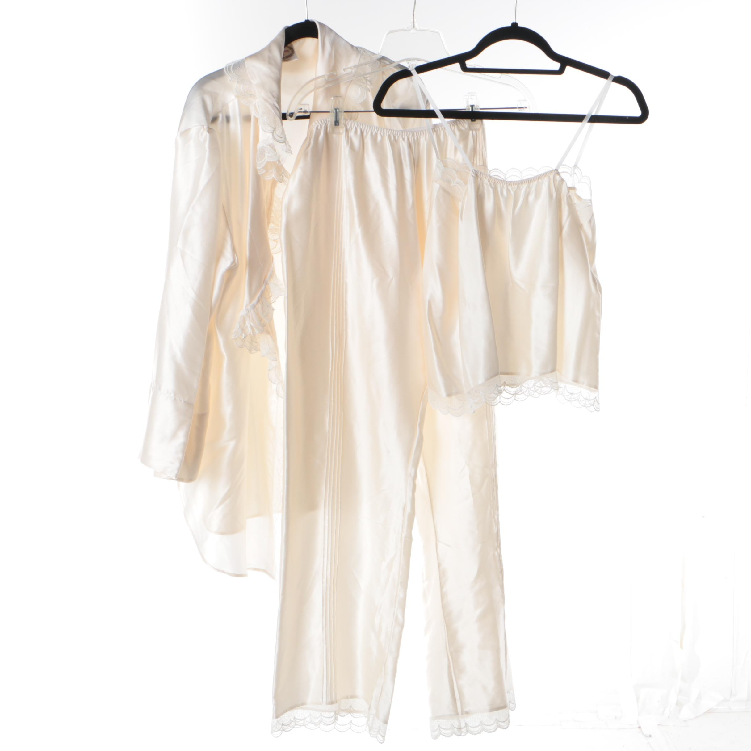 Women's Cobannau Ltd. Ivory Silk Three-Piece Pajama Set with Lace Trim