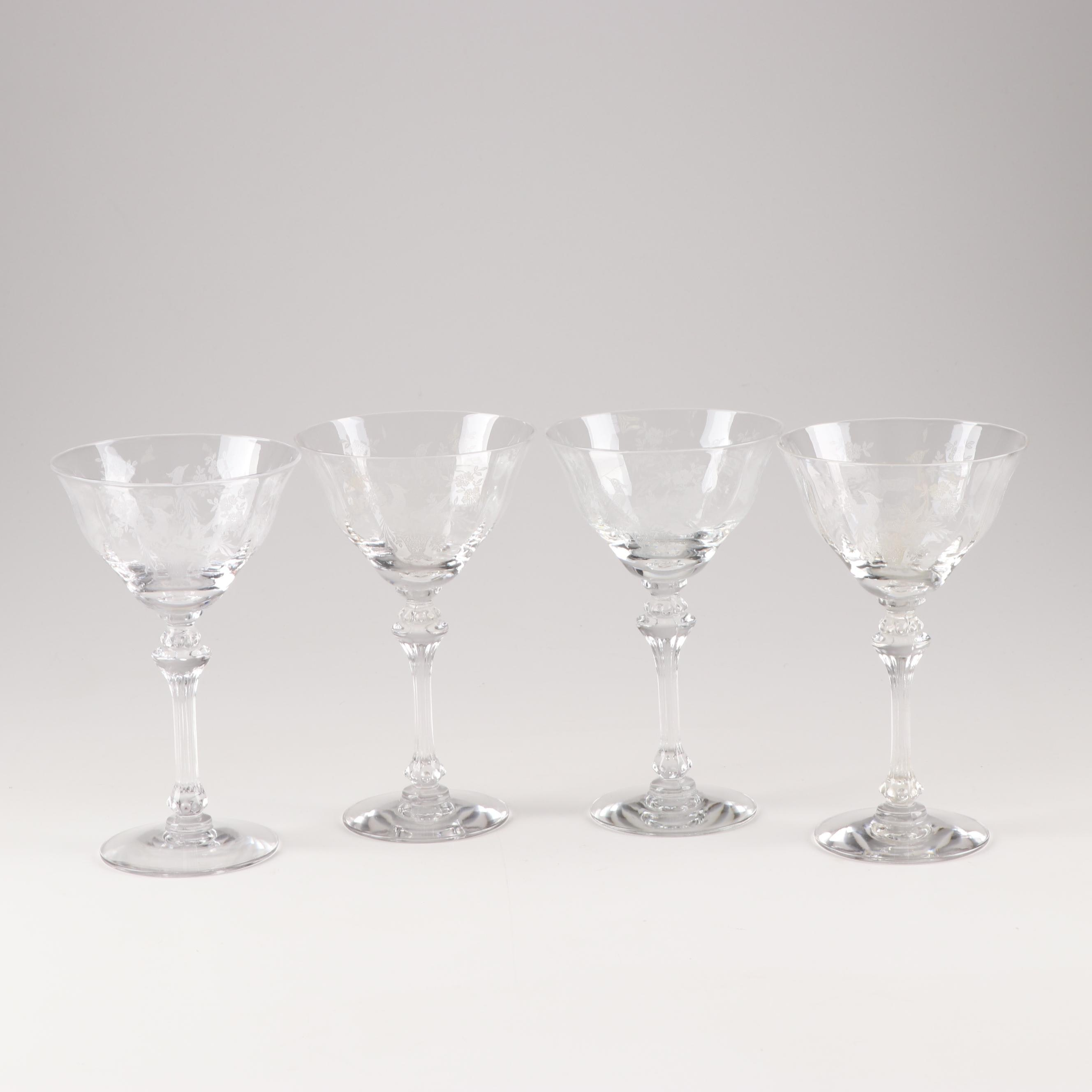 """Tiffin Franciscan """"Persian Pheasant"""" Champagne Coupes"""