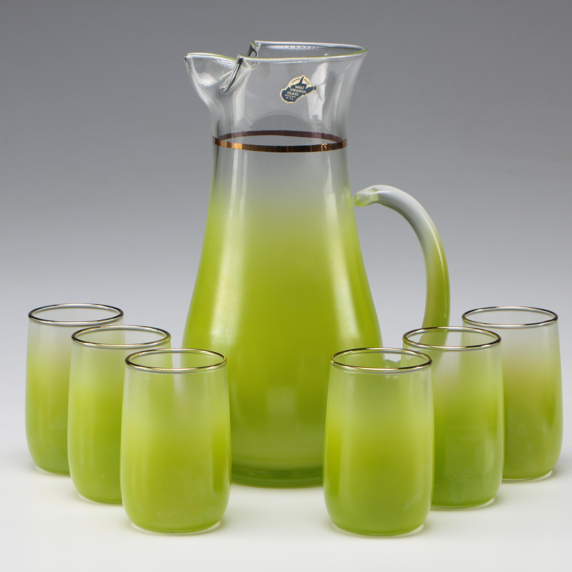 West Virginia Glass Green Glass Pitcher and Glasses Set, Vintage