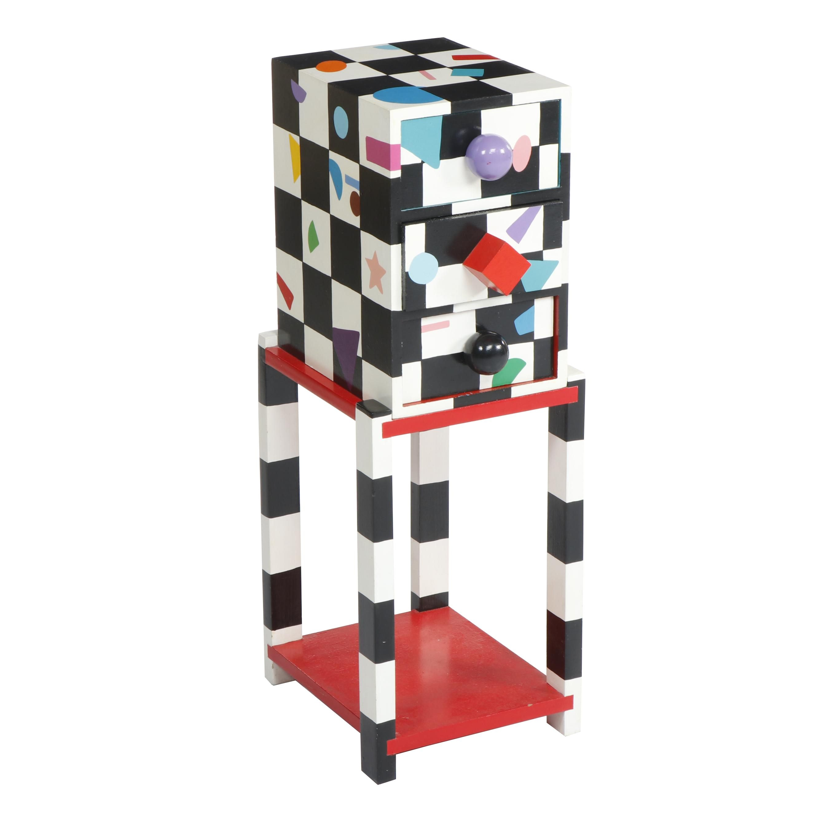 Memphis Style Colorful Painted Geometric Shape Side Table With Drawers, C. 1980s