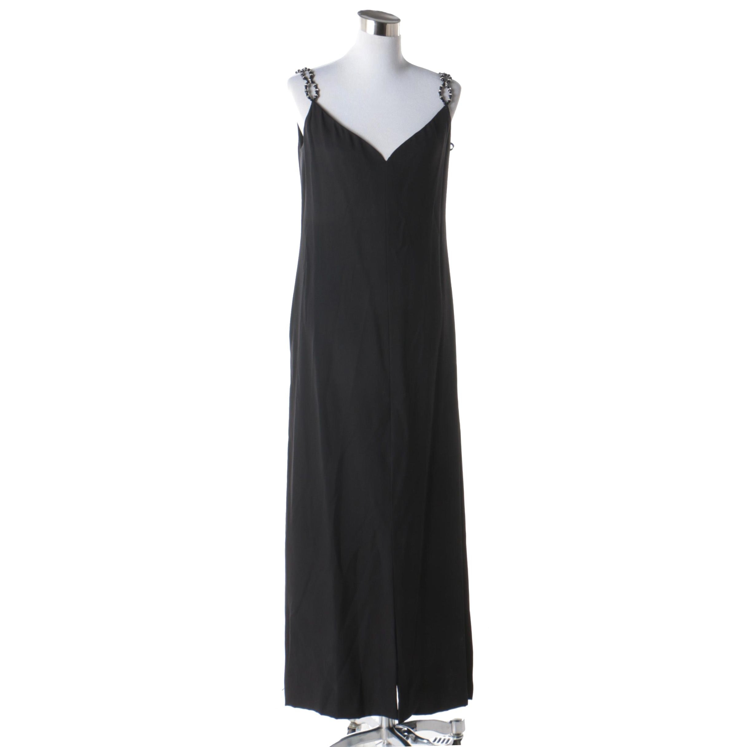 Adele Simpson for Saks Fifth Avenue Black Sleeveless Gown with Beaded Straps