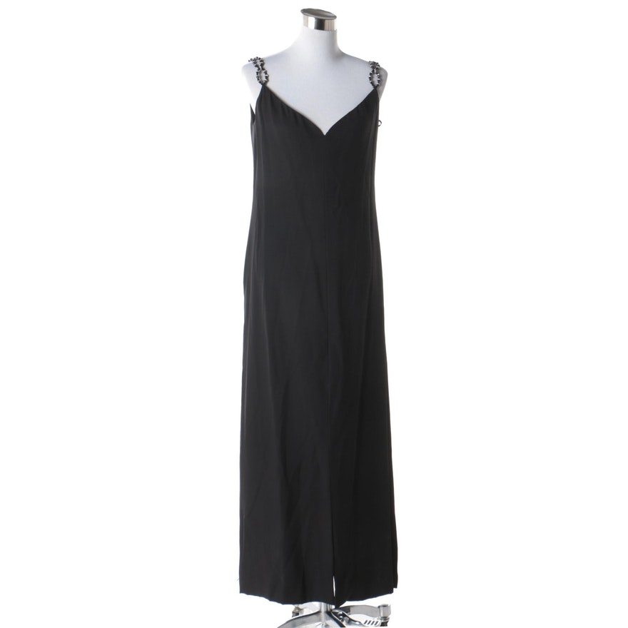 df40e67d671d Adele Simpson for Saks Fifth Avenue Black Sleeveless Gown with Beaded  Straps | EBTH