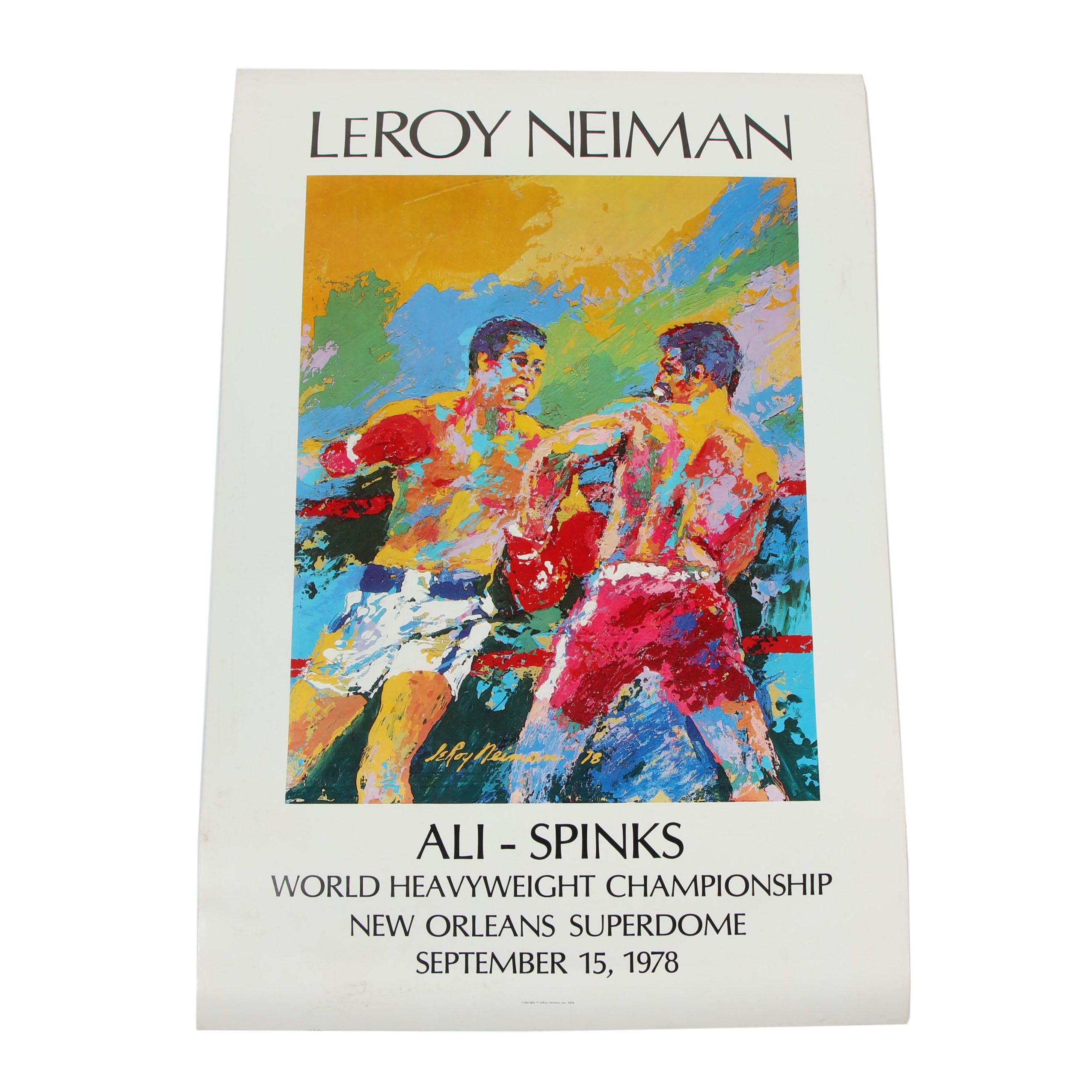 "Leroy Neiman ""Ali vs. Spinks: World Heavyweight Championship"" Poster, 1978"