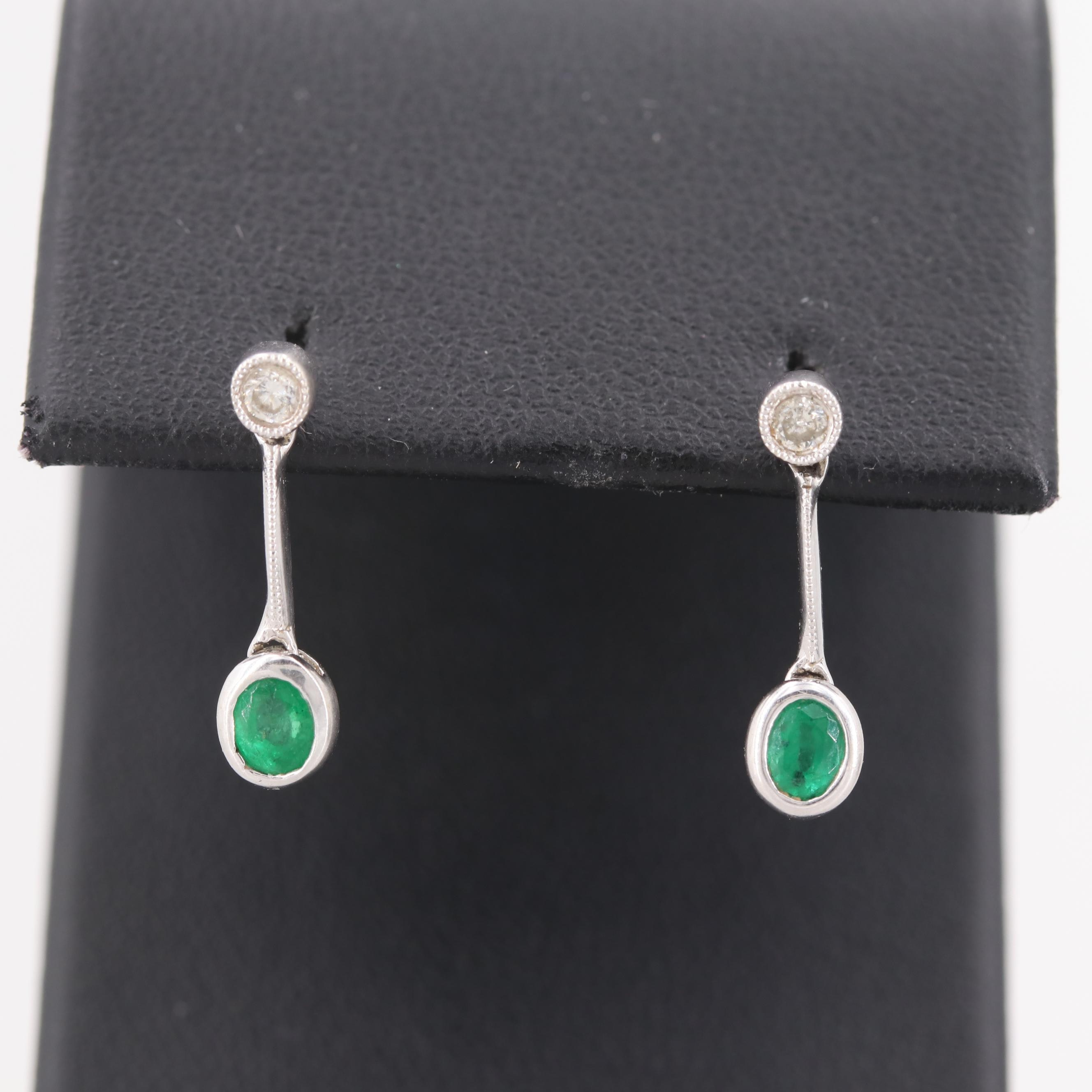 18K White Gold Diamond and Emerald Earrings
