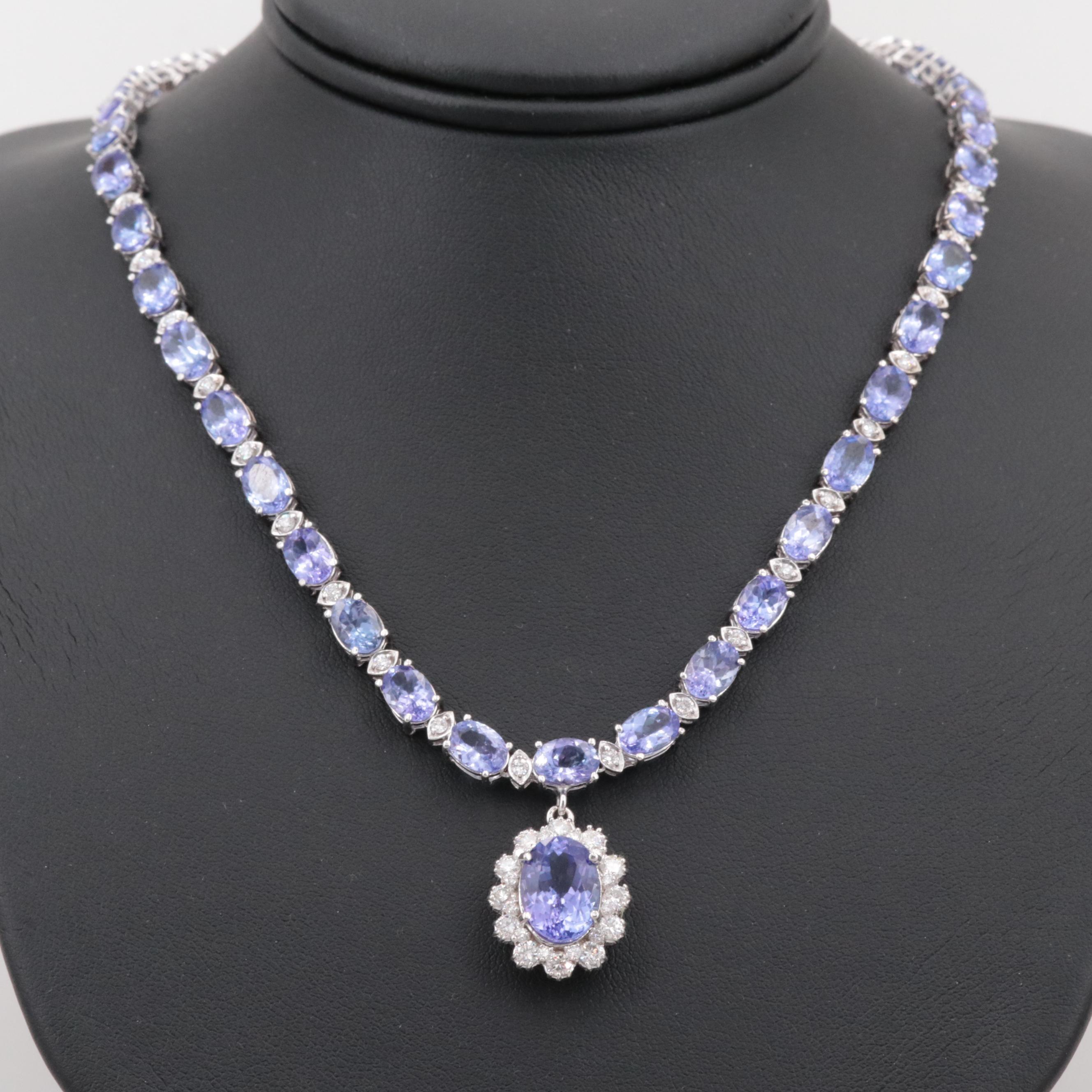 14K White Gold 4.13 CT Tanzanite and 2.18 CTW Diamond Necklace