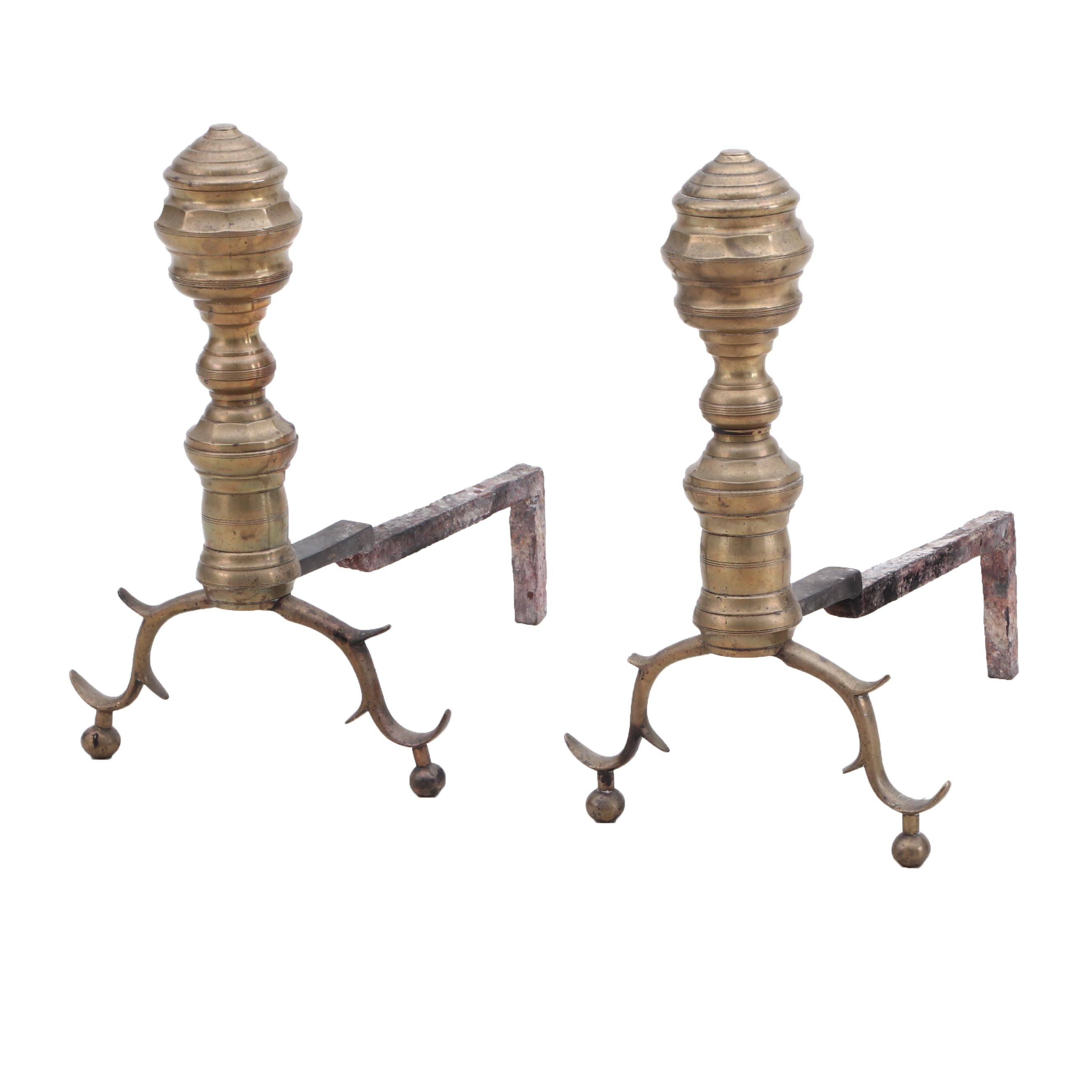 Chippendale Style Brass Branch Foot Andirons