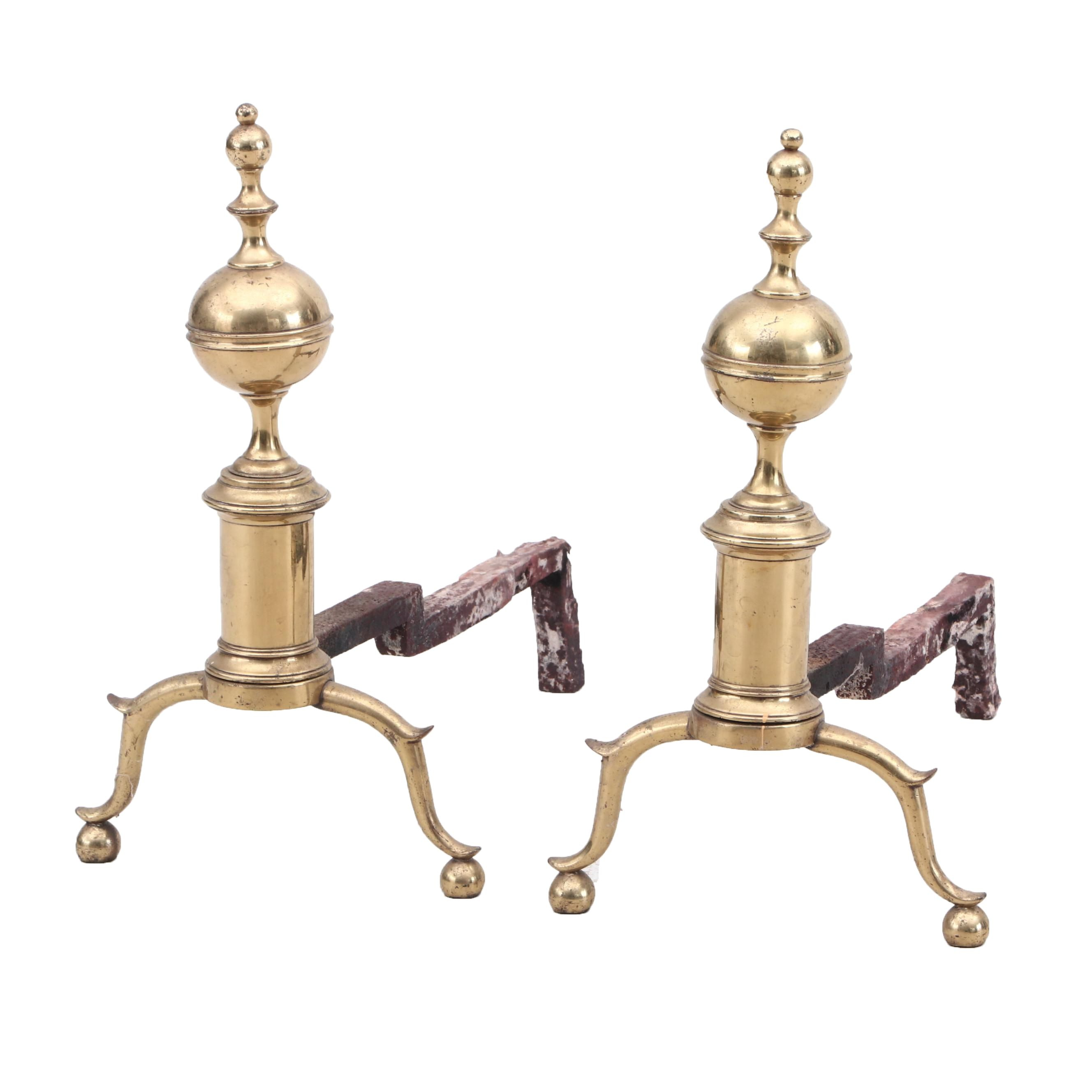 Federal Style Ball Top Fireplace Andirons with Spurred Legs