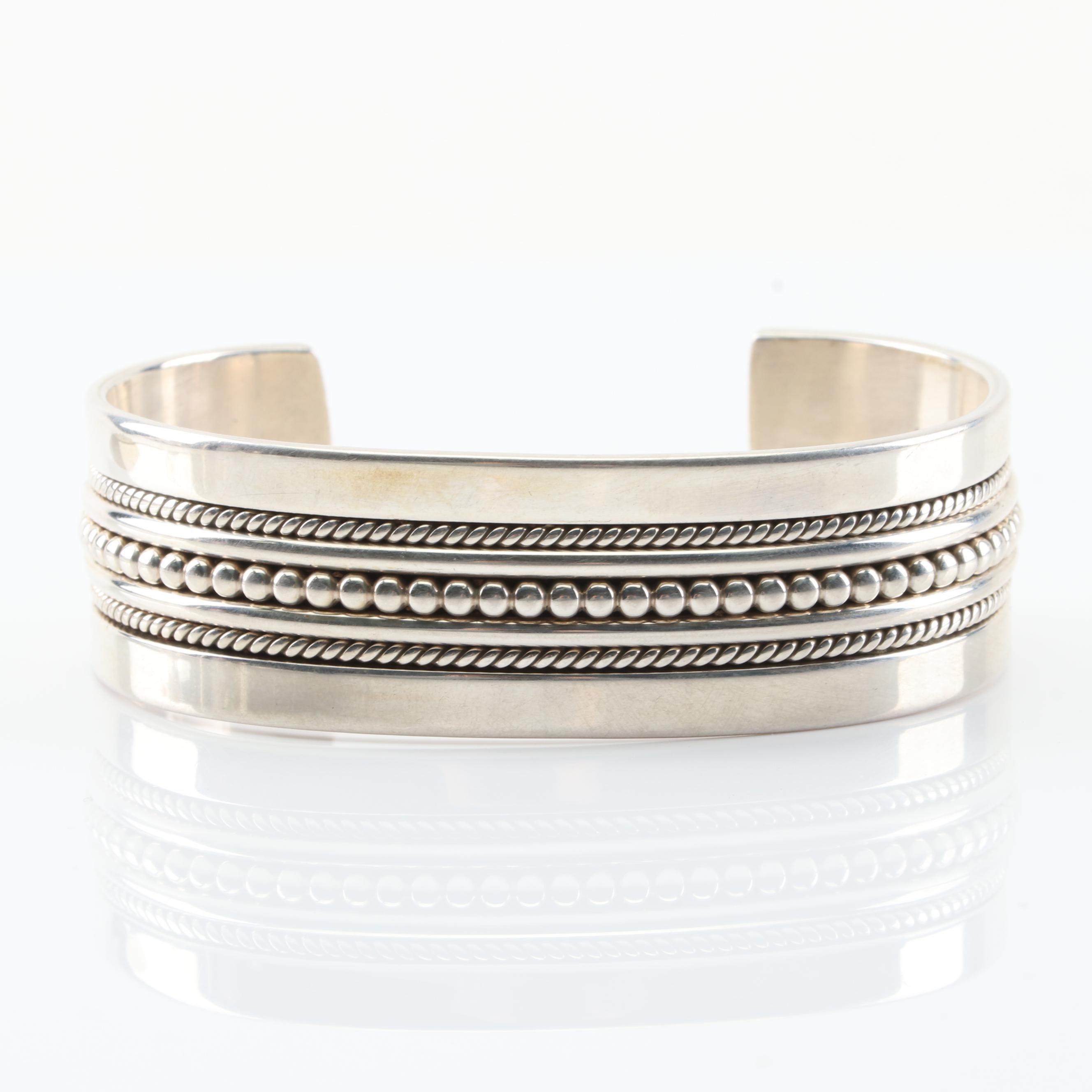 Gahe Sterling Silver Navajo Cuff Bracelet