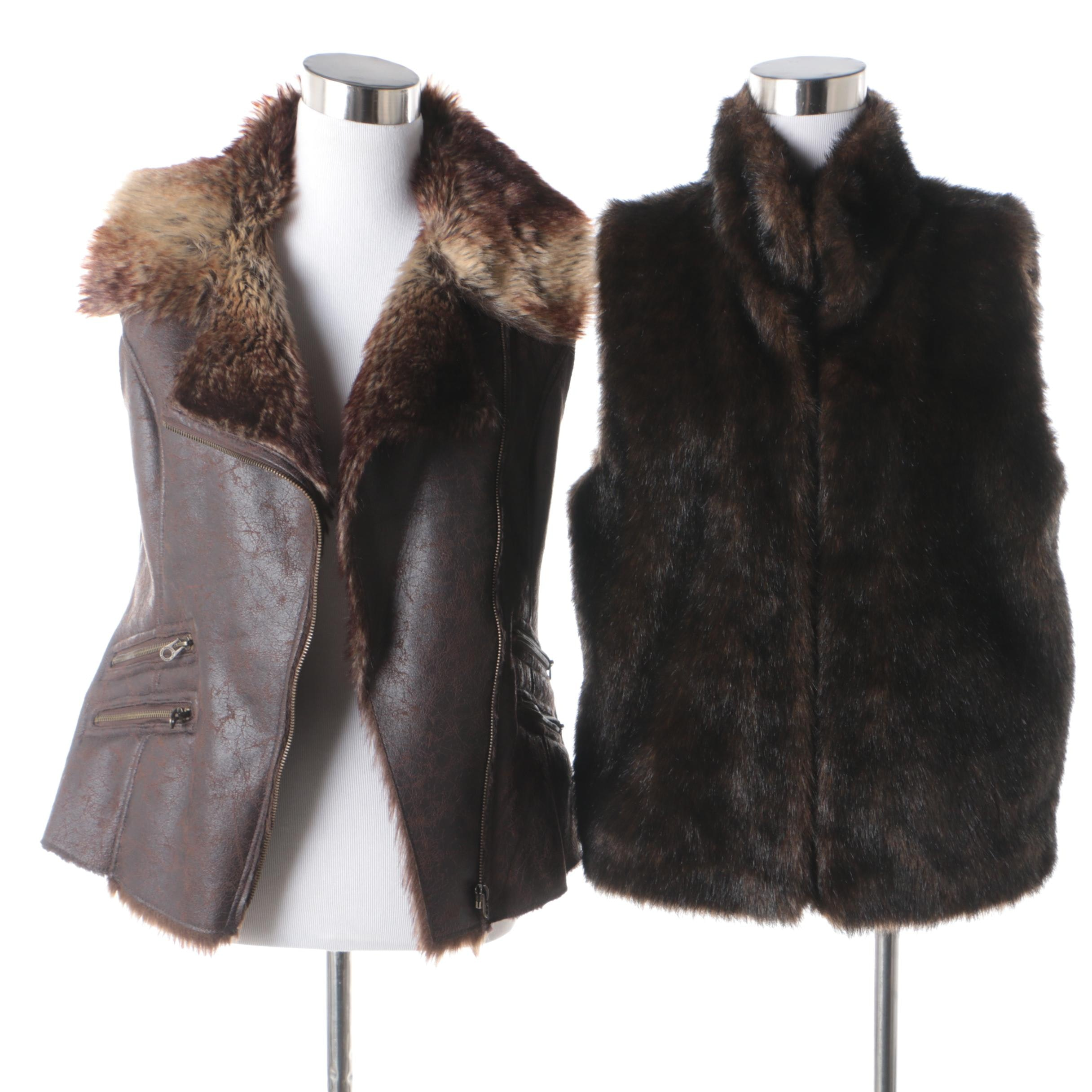 Valerie Stevens and MO x Members Only Faux Fur Vests