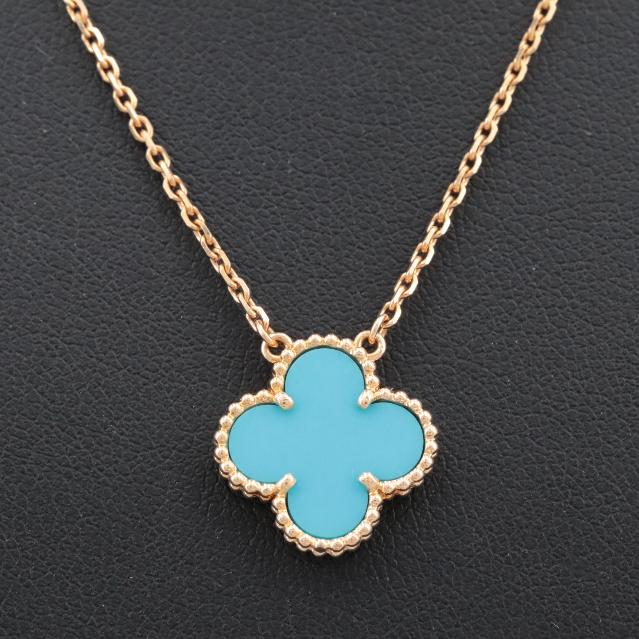 "Van Cleef & Arpels 18K Yellow Gold ""Alhambra"" Turquoise Pendant Necklace"