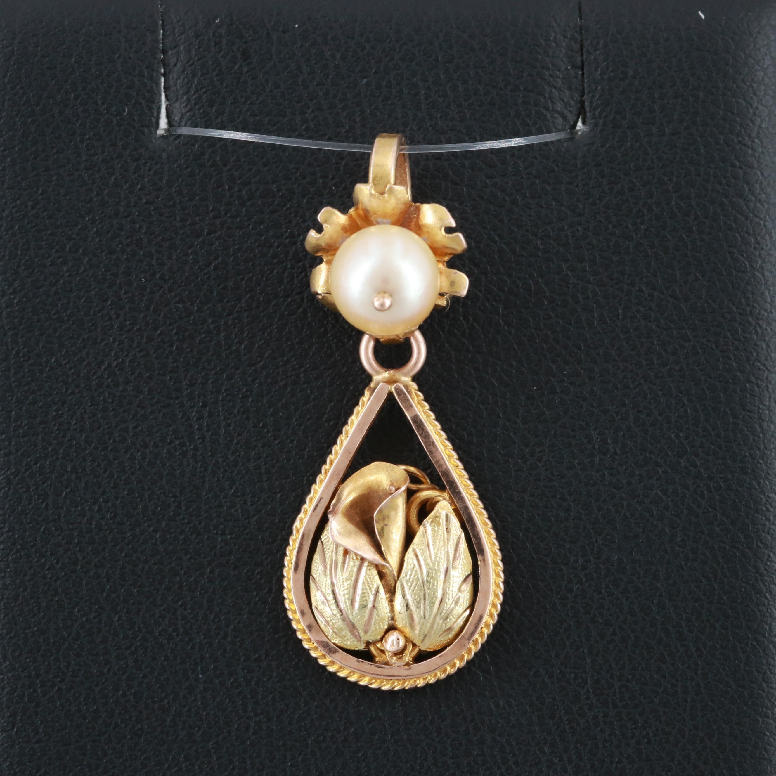 Vintage 10K Yellow Gold Cultured Pearl Pendant with Calla Lilly Motif