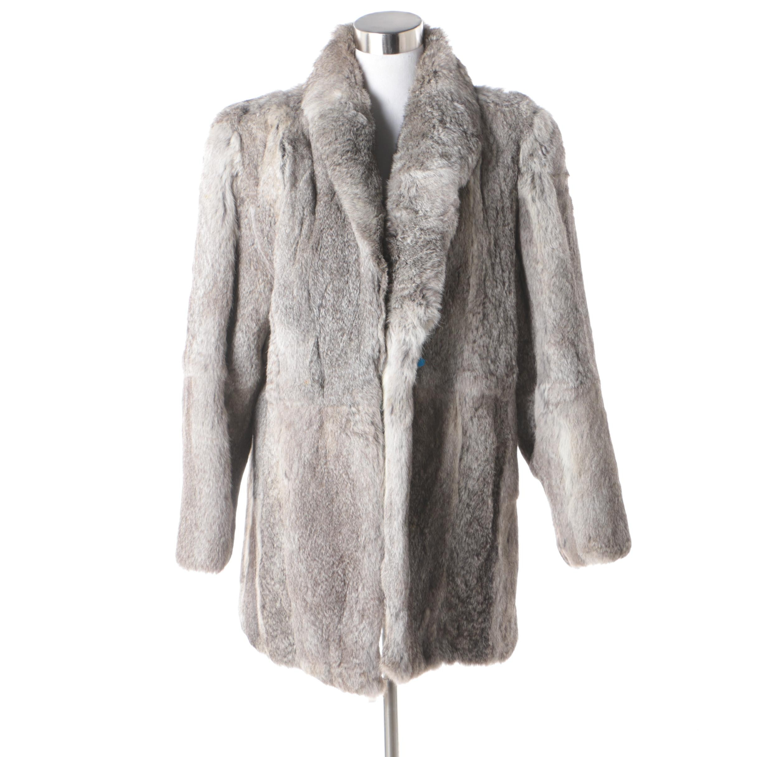 Women's Grey Rabbit Fur Jacket