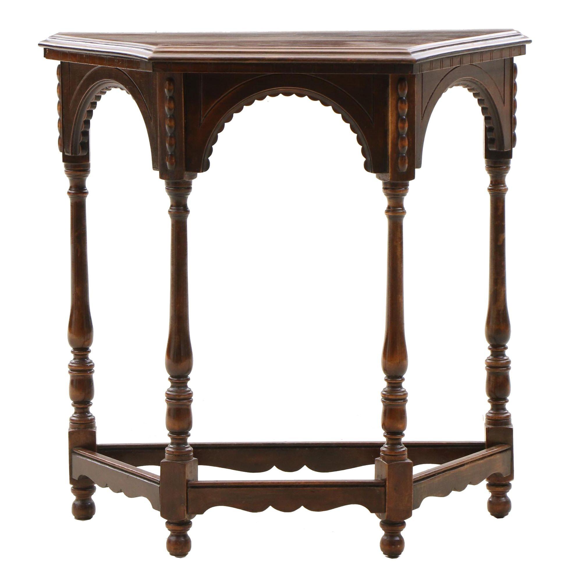 Renaissance Revival Walnut Accent Table by Jake Tennenbaum Furniture