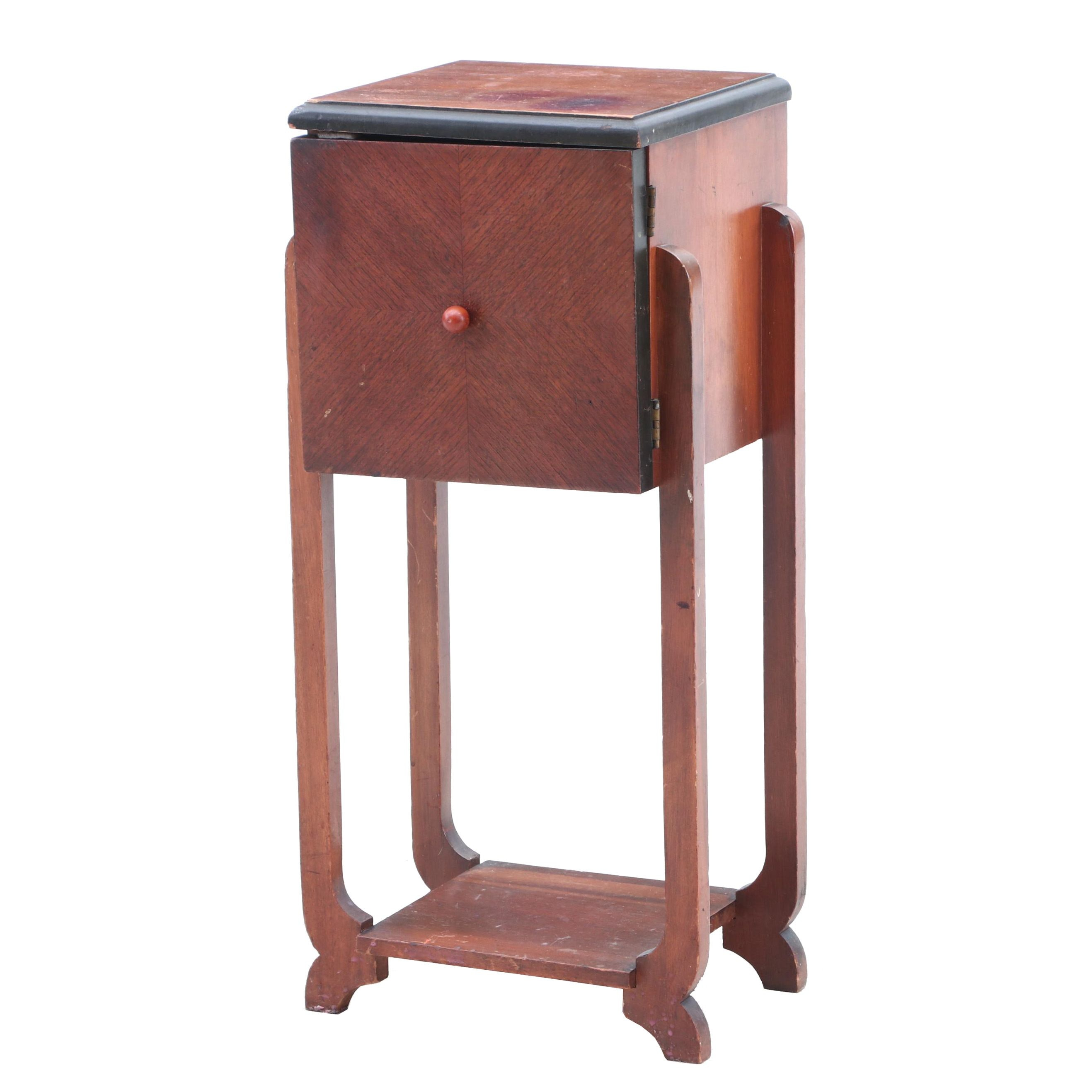 Bookmatched Veneer and Copper Lined Footed Cabinet