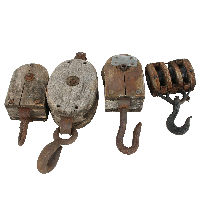 Vintage Industrial Wooden Pulleys