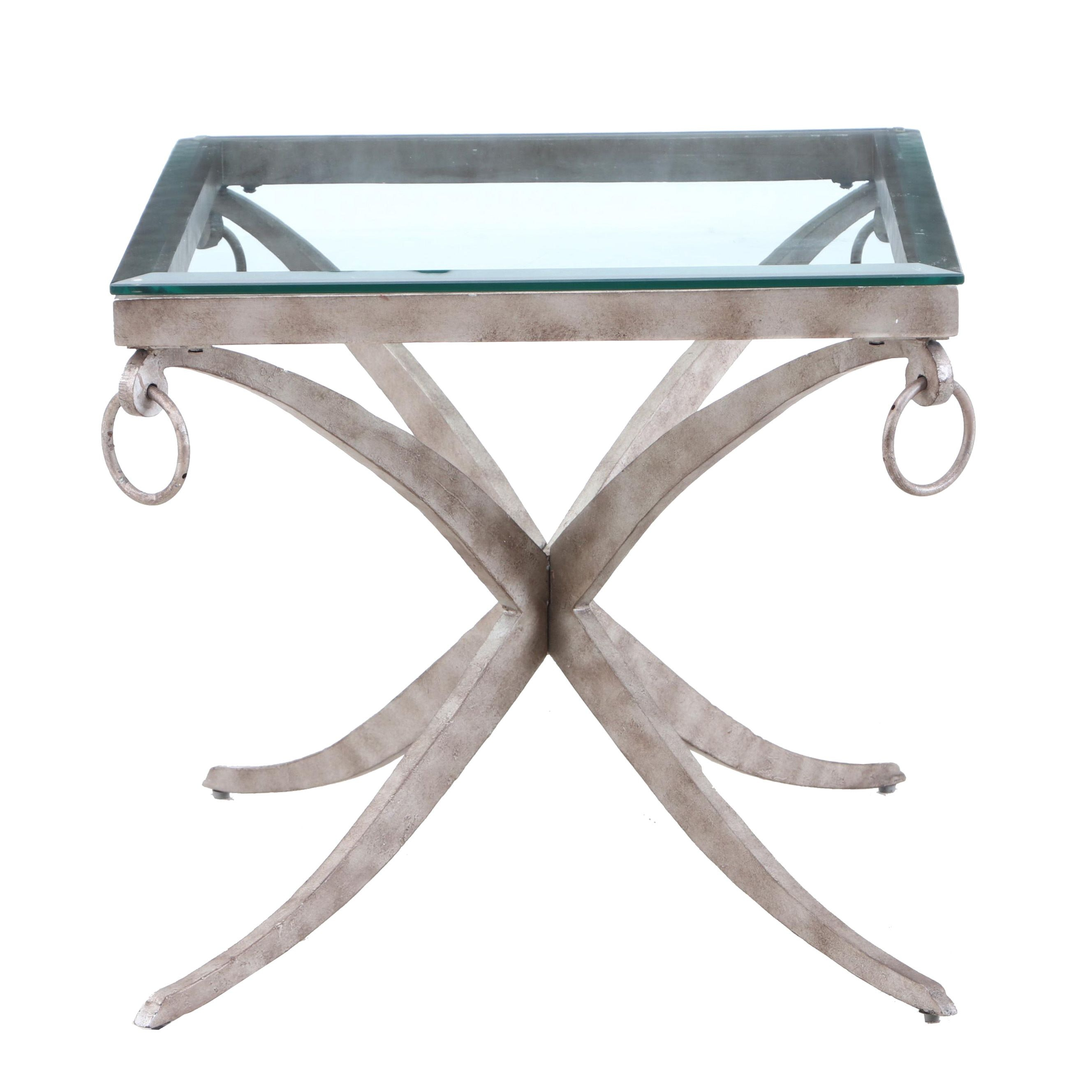 Contemporary Metal and Tempered Glass Accent Table