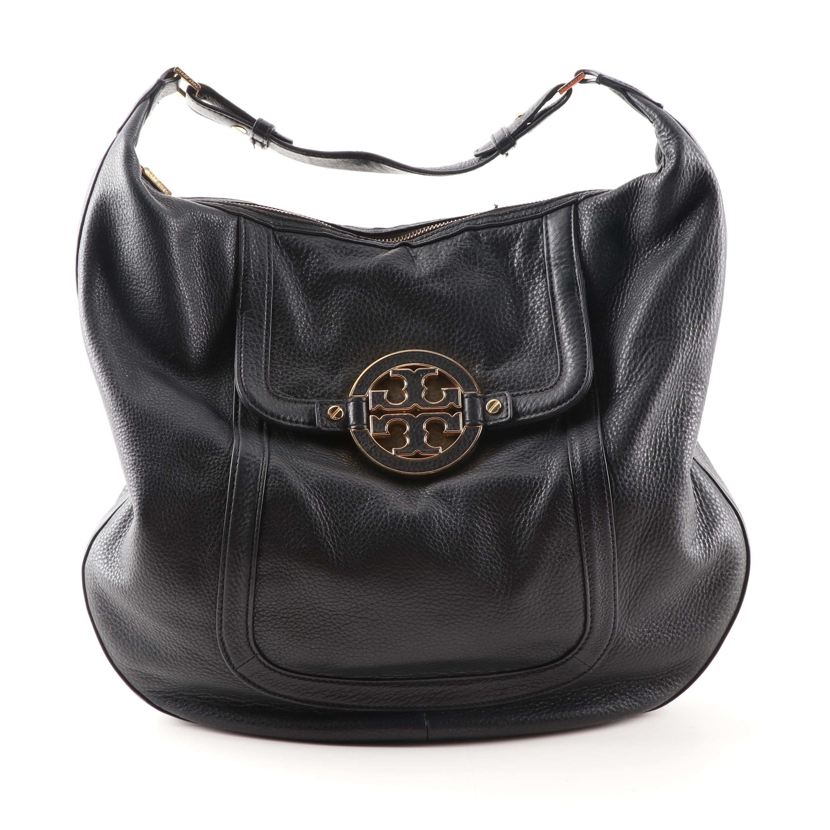 Tory Burch Amanda Black Pebble Leather Hobo Bag