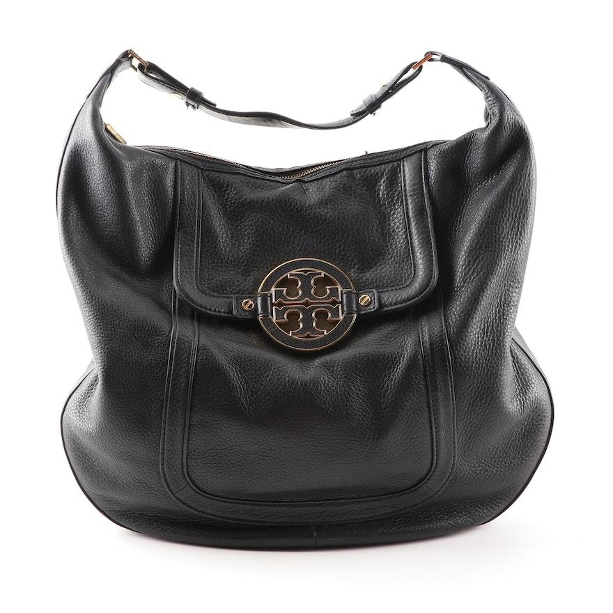 ebbc19c46285 Tory Burch Amanda Black Pebble Leather Hobo Bag   EBTH