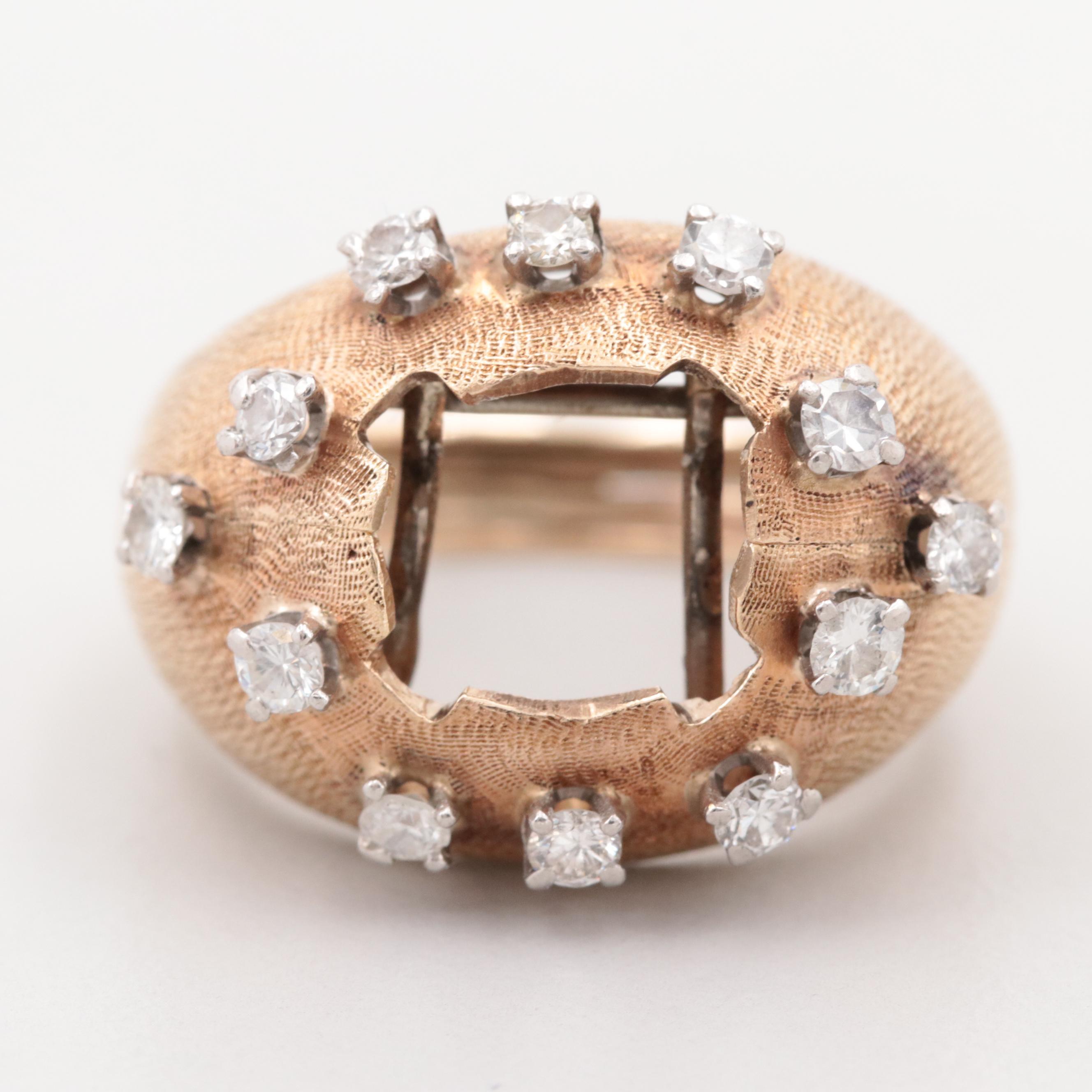 14K Yellow Gold and Palladium Diamond Ring Jacket