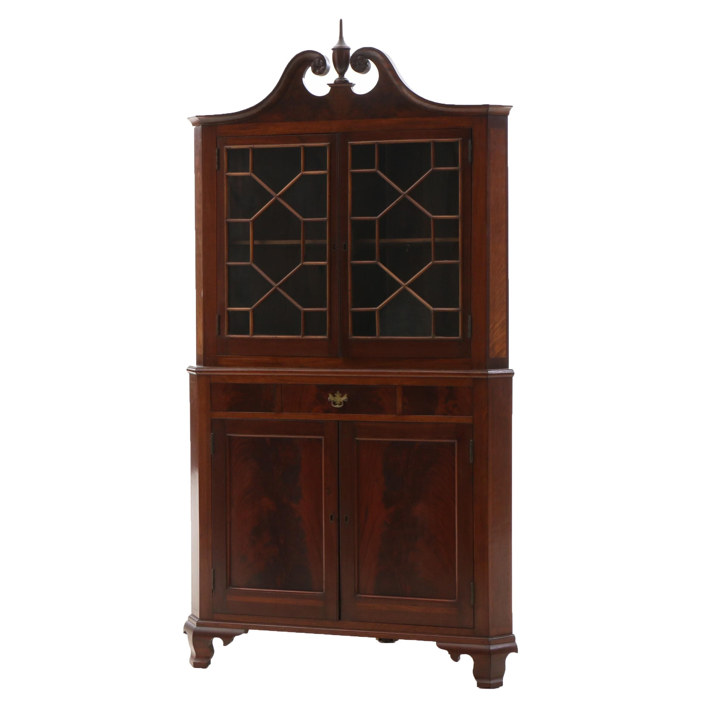 Chinese Chippendale Style Flame Mahogany China Cabinet