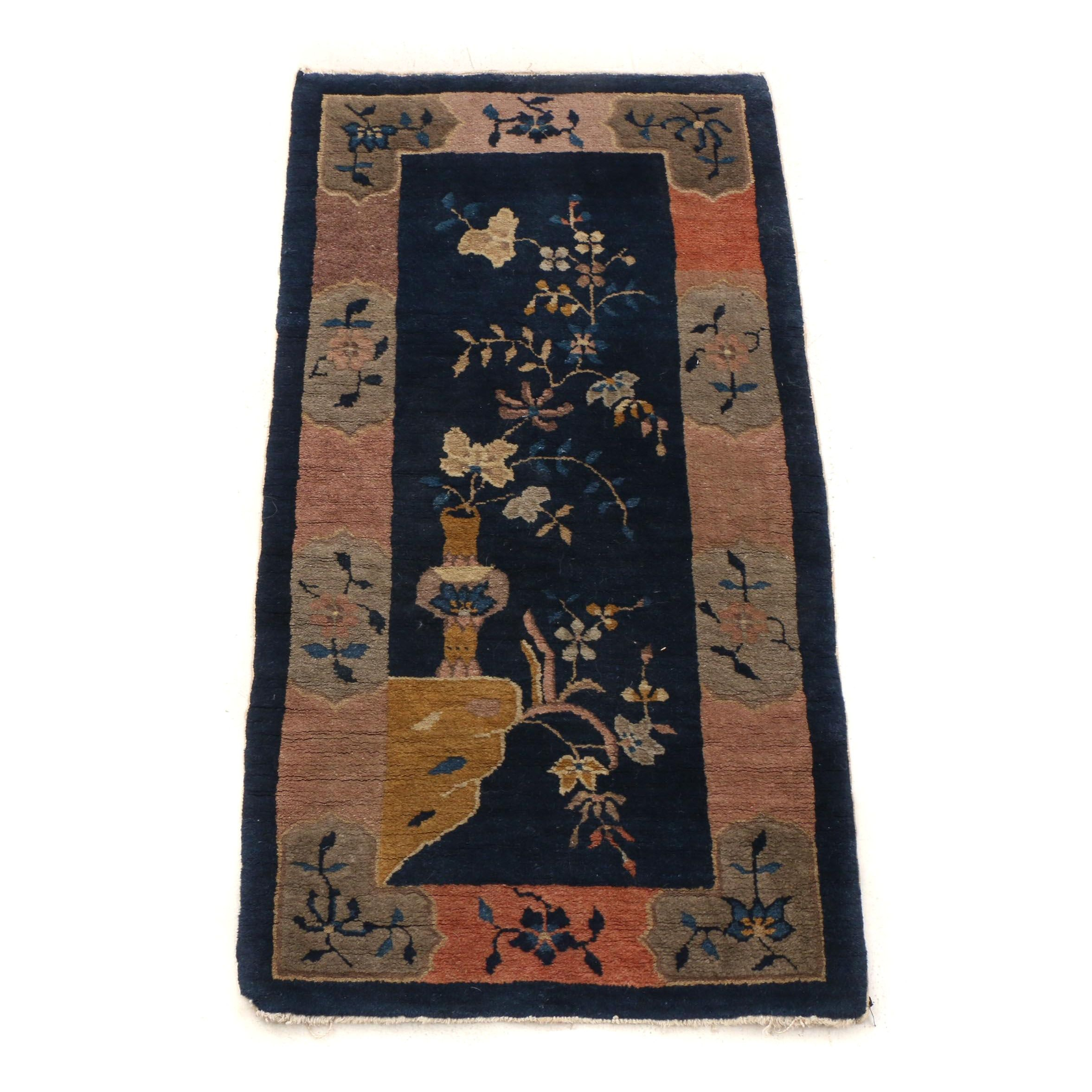 Hand-Knotted Chinese Nichols Style Wool Accent Rug